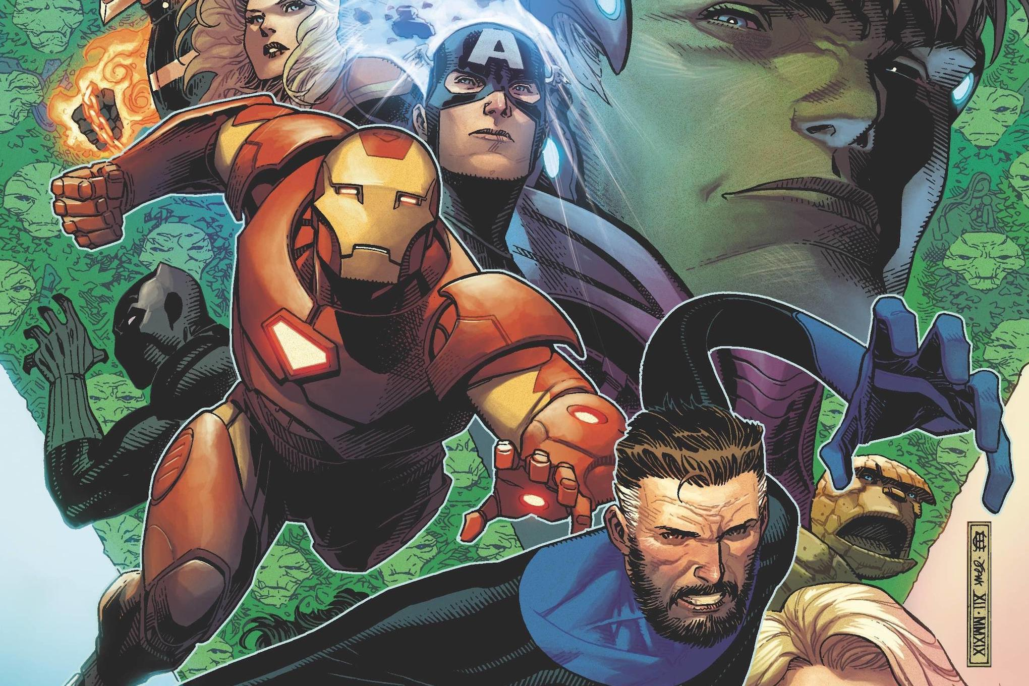 The Avengers and the Fantastic Four on the cover of Empyre #1, Marvel Comics (2020).