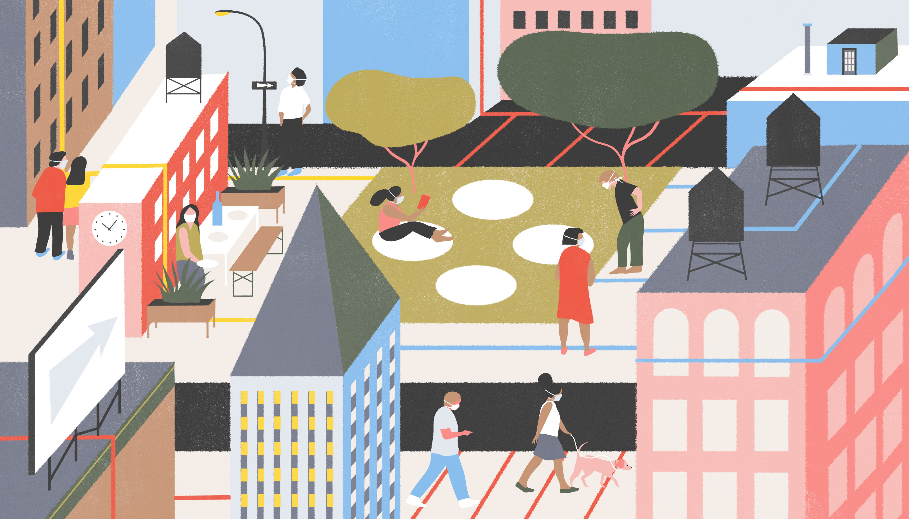 A zoomed out view of a New York City block showing the various ways businesses and public spaces are creating social boundaries. There is a park with socially-distant circles for picnicking, spaced out lines leading up to a store front entrance, and taped of zones for outdoor dining. The scene is calm and orderly. Illustration.