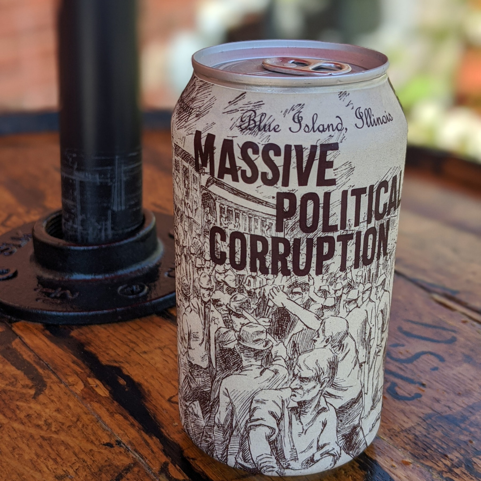 """Blue Island Beer Co.'s """"Massive Political Corruption"""" is available in six-packs and on draft at the brewery."""