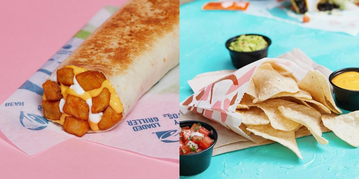Left: cheesy potato burrito. Right: chips and guacamole.