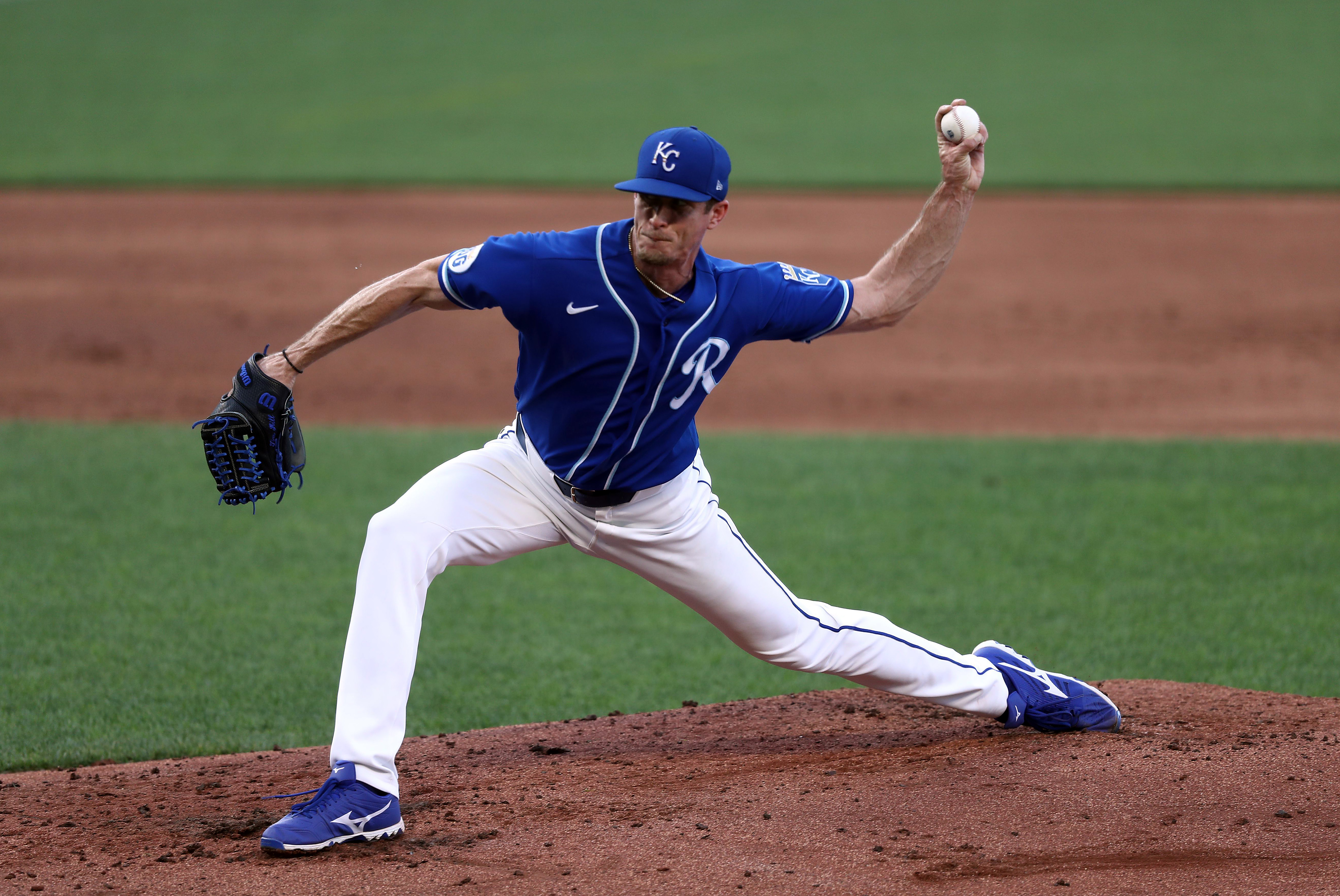 Pitcher Tim Hill #54 of the Kansas City Royals pitches during an inter-squad scrimmage as part of summer workouts at Kauffman Stadium on July 10, 2020 in Kansas City, Missouri.