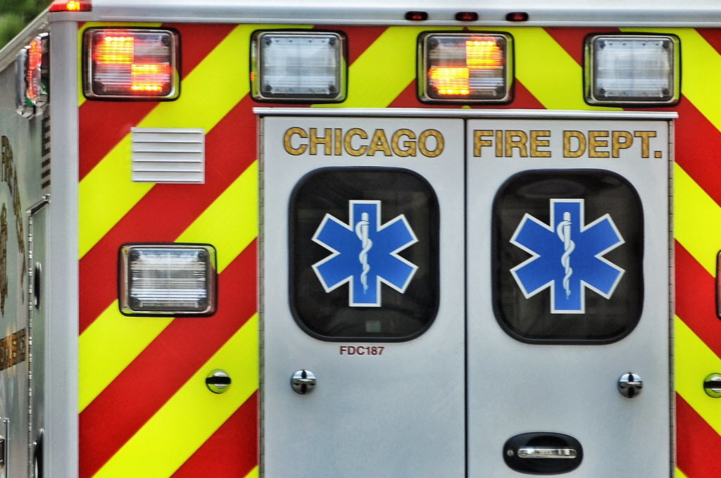 A man and a woman were hit by a car while crossing Lake Shore Drive against a red light at Chicago Avenue July 16, 2020.