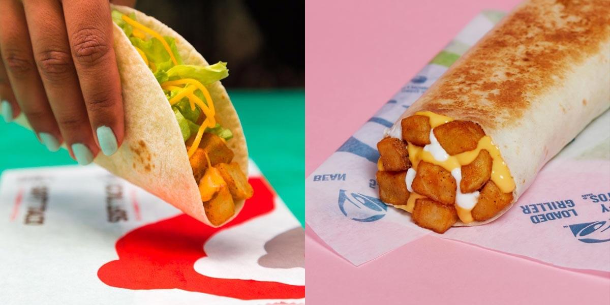 Left: Taco Bell potato taco. Right: Taco Bell potato griller.