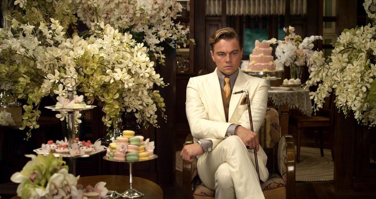"Leonardo DiCaprio as Jay Gatsby in ""The Great Gatsby."""