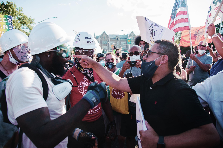 Black Lives Matter and Blue Lives Matter demonstrators clash in Bay Ridge, Brooklyn, July 12, 2020.