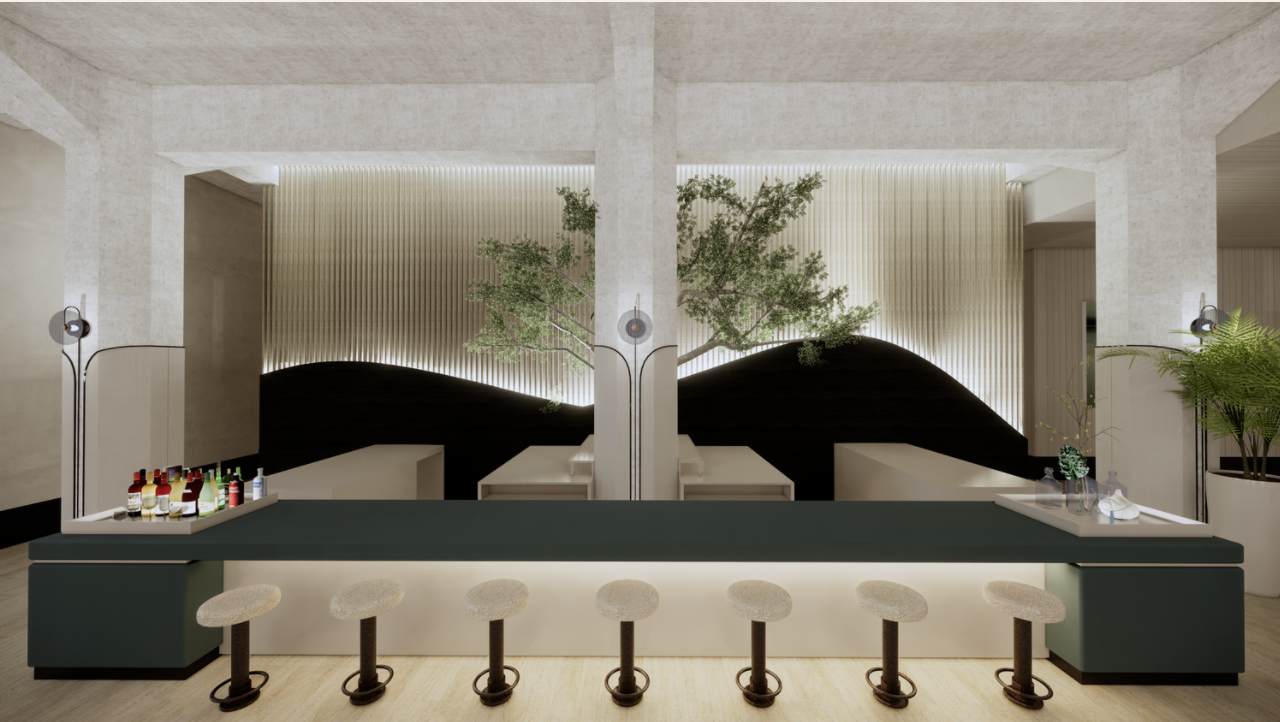 A minimalistic bar space with stools.