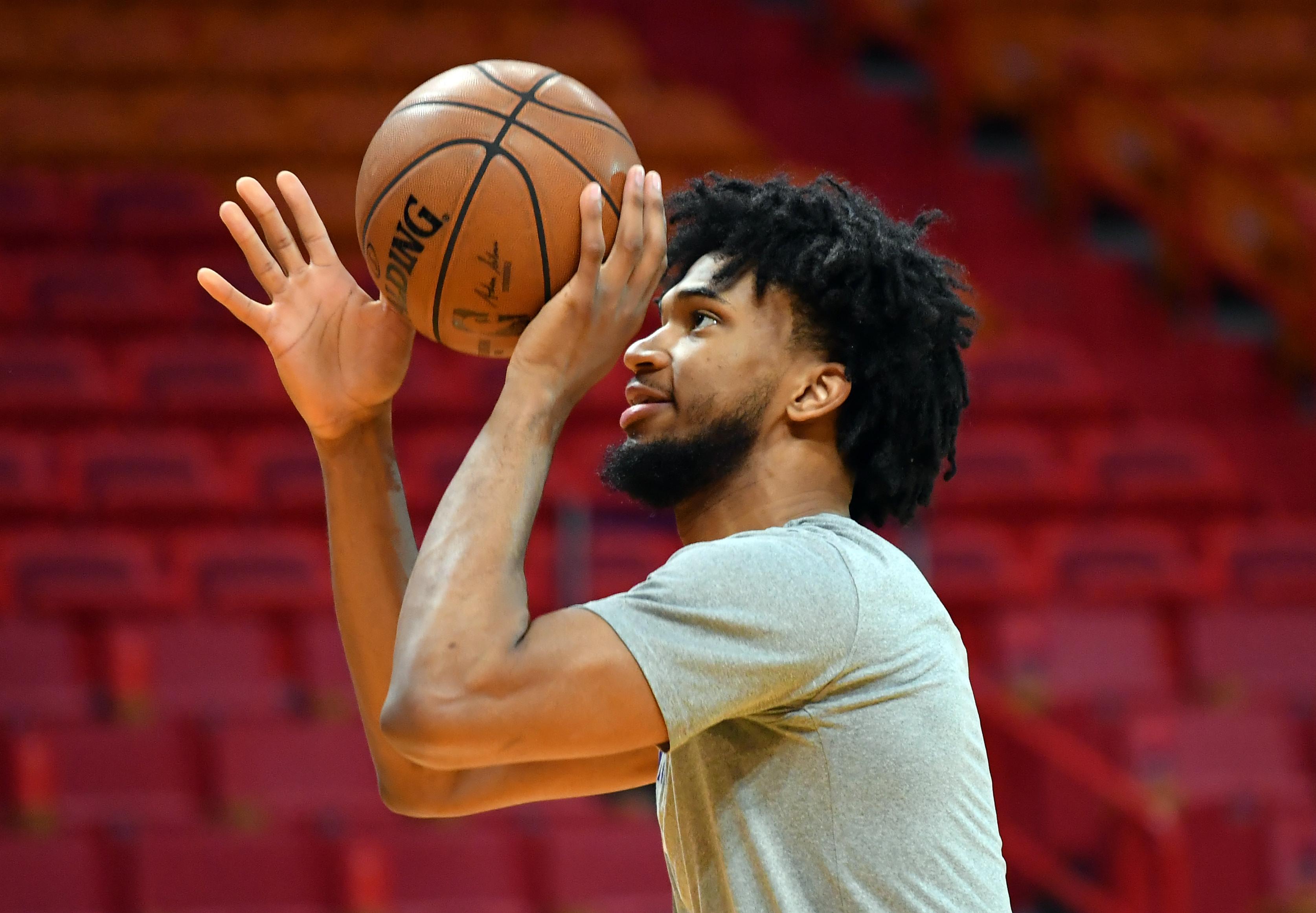 Sacramento Kings forward Marvin Bagley III warms up before a game against the Miami Heat at American Airlines Arena.