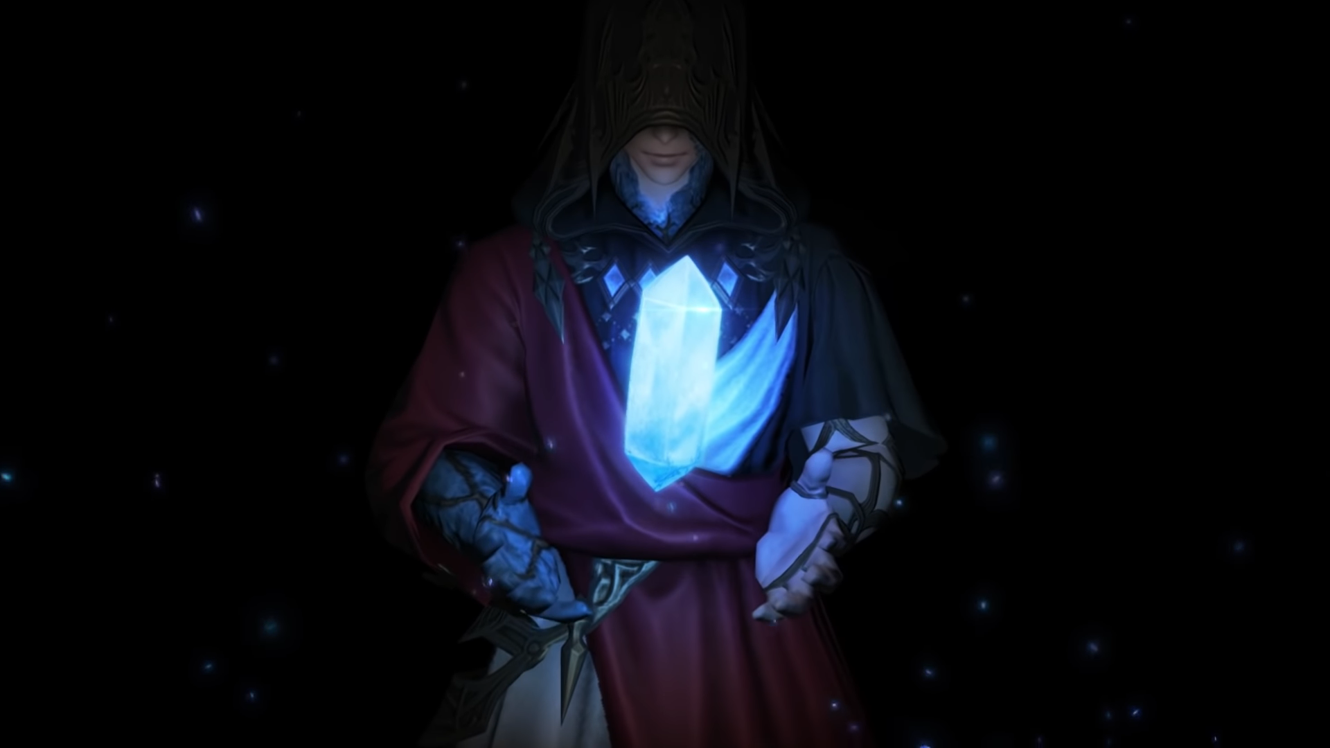 A robed figure holds up a blue crystal
