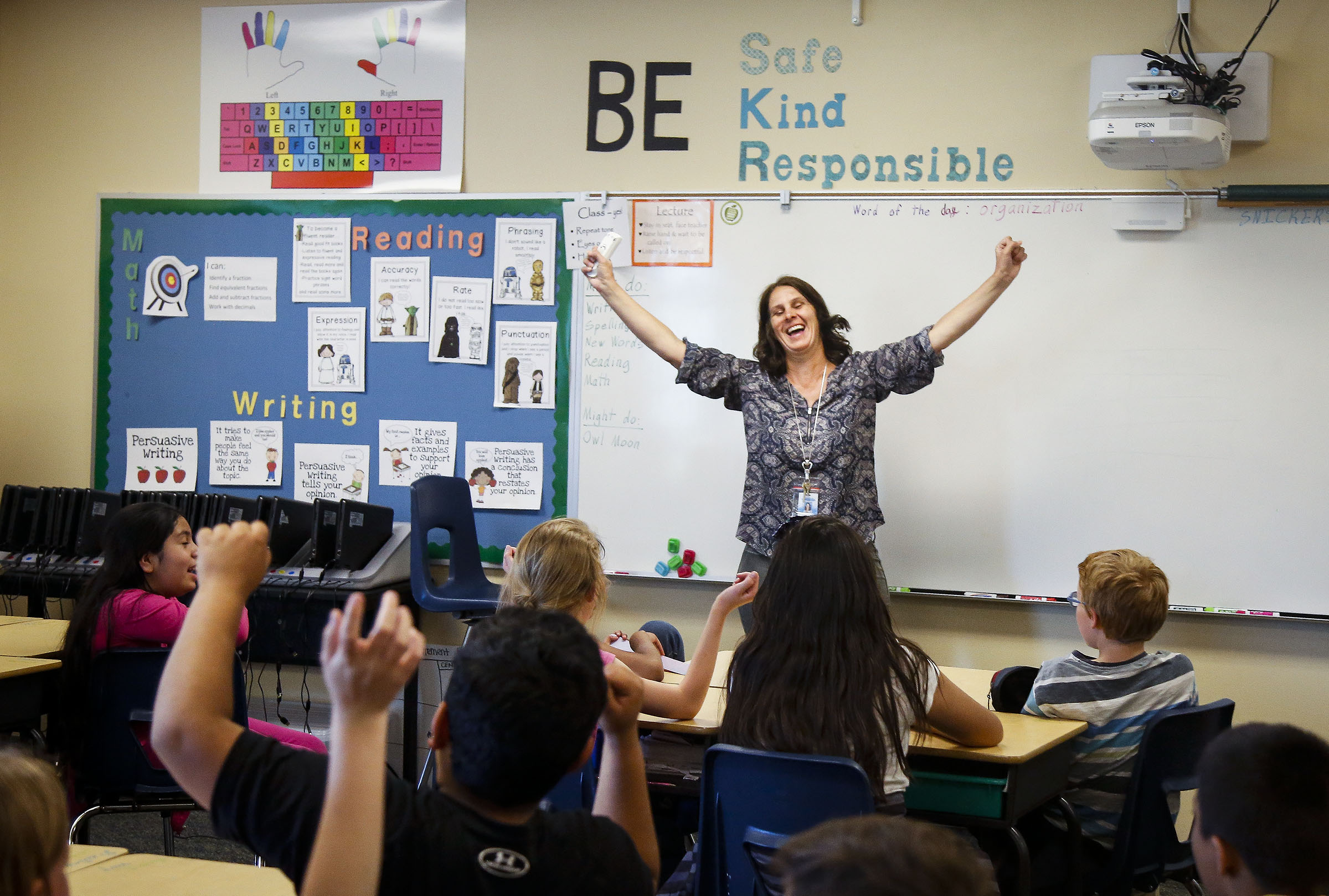 Lynette Schiess, who recently moved to a position with the Utah State Board of Education , pictured her while she was counselor at JR Smith Elementary School, teaches Karen Edward's fourth-grade class about testing techniques as a part pf her Crayons to College program in Heber on Thursday, April 13, 2017.
