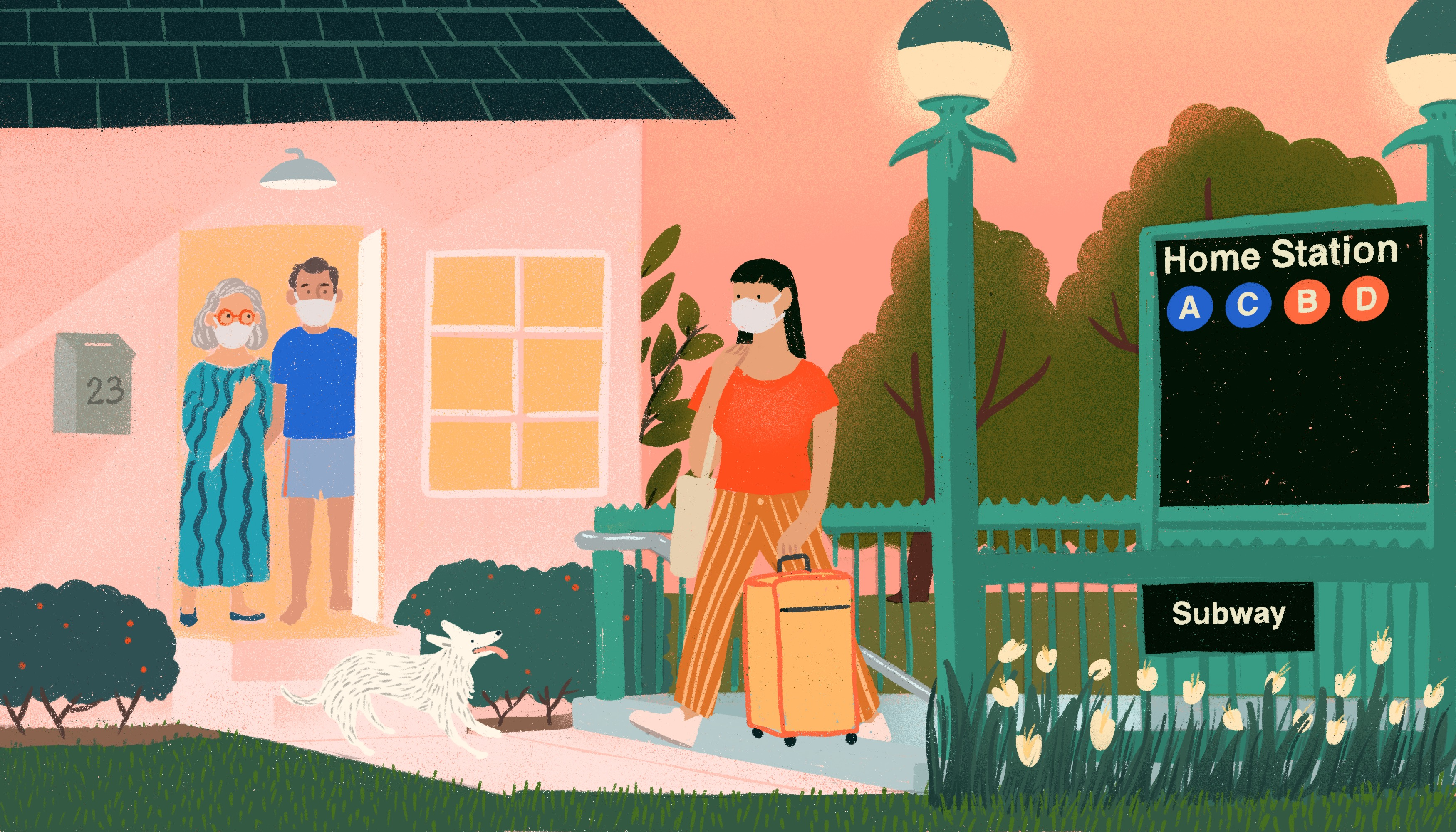 """A woman wearing a face mask ascends from a subway entrance labeled """"Home Station"""", she is rolling a suitcase behind her. Ahead of the woman is a set of older parents also wearing masks, waiting for her in the doorway of a single-family home. Illustration."""