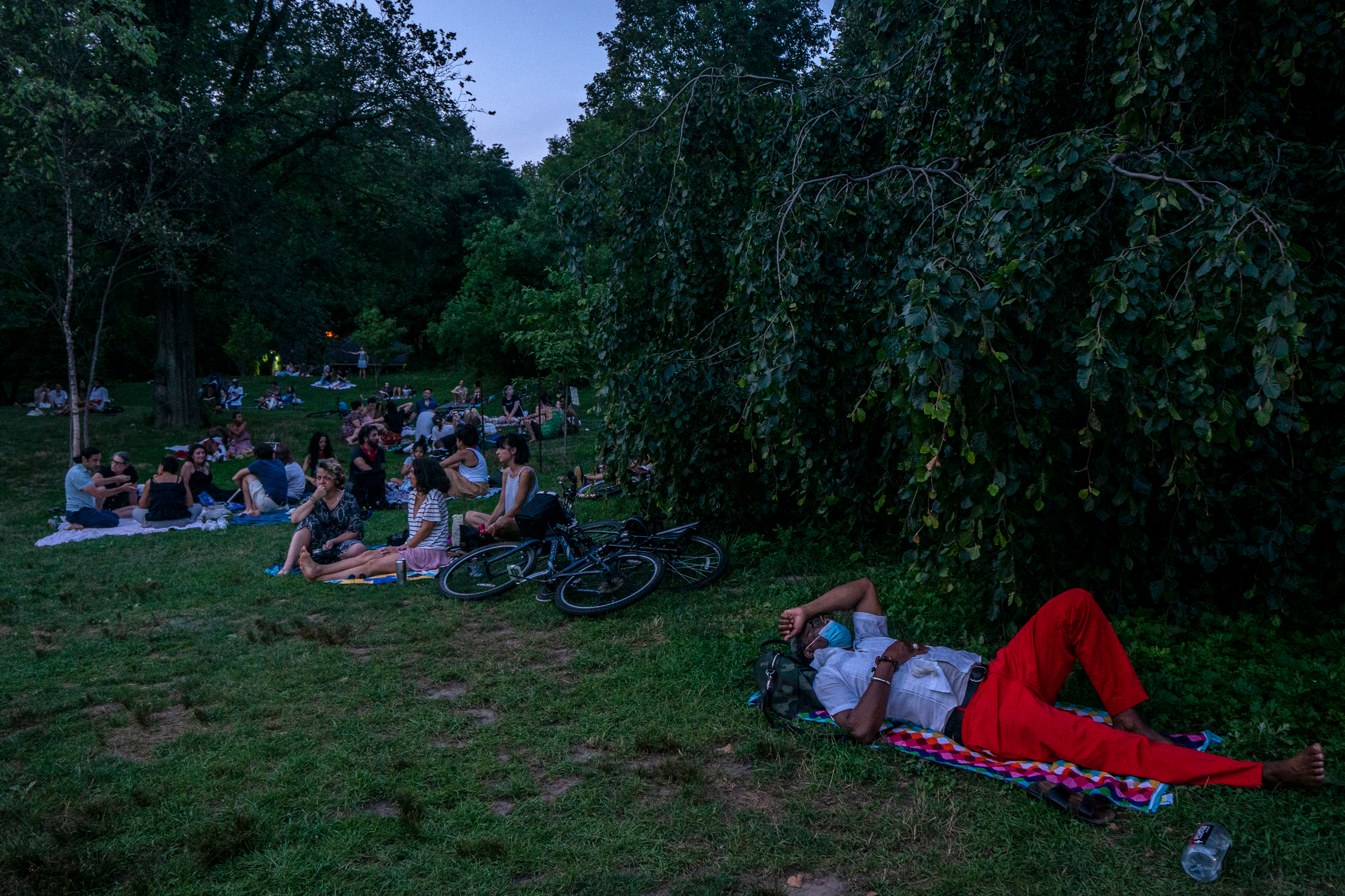 Brooklyn cools off in Prospect Park as a scorching summer day turned to night on July 19, 2020.