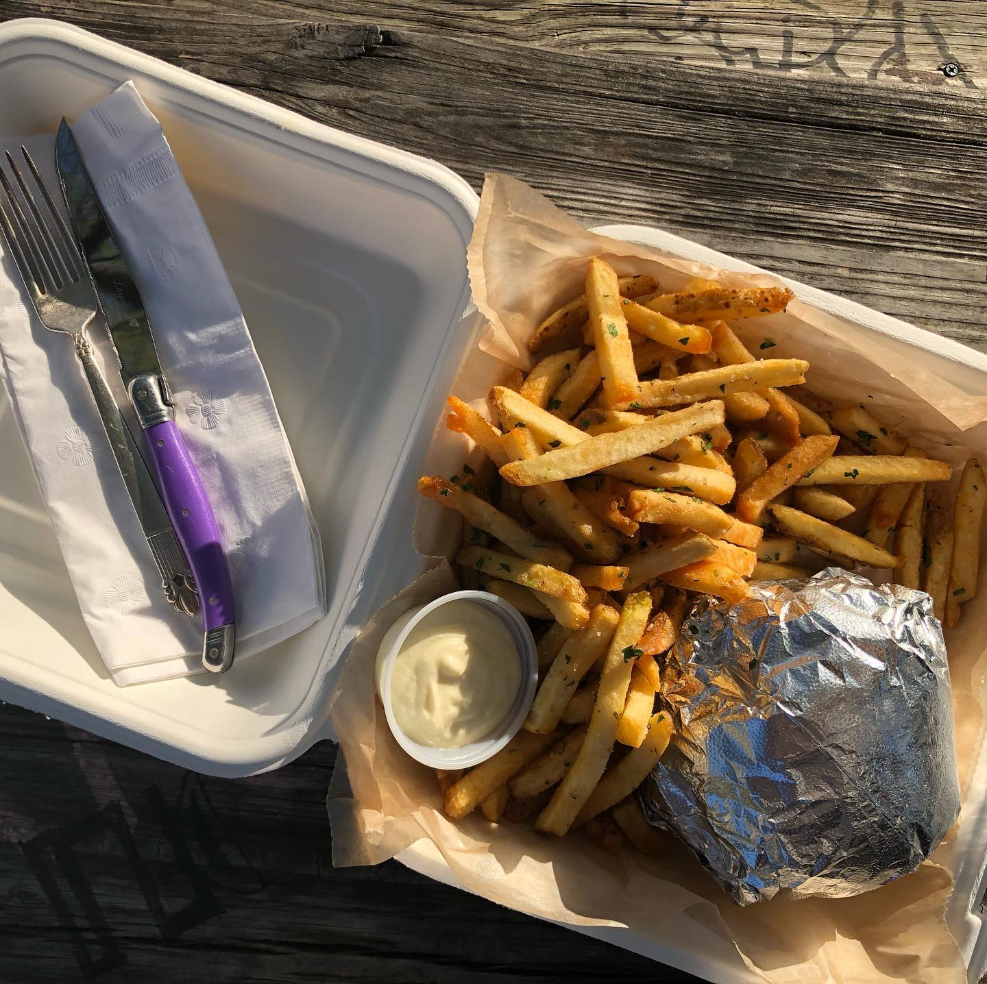 To-go fries and burger from Hopfields