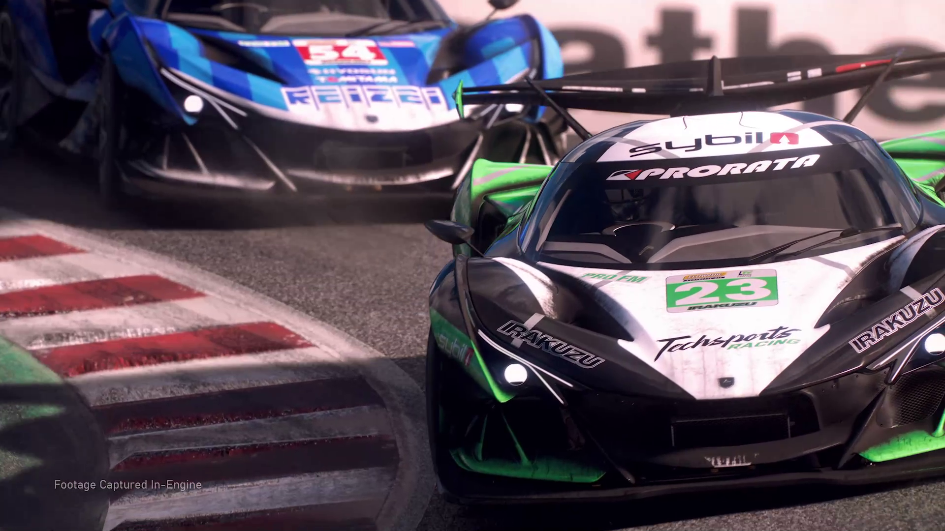 two sports cars rounding a corner in Forza Motorsport on Xbox Series X