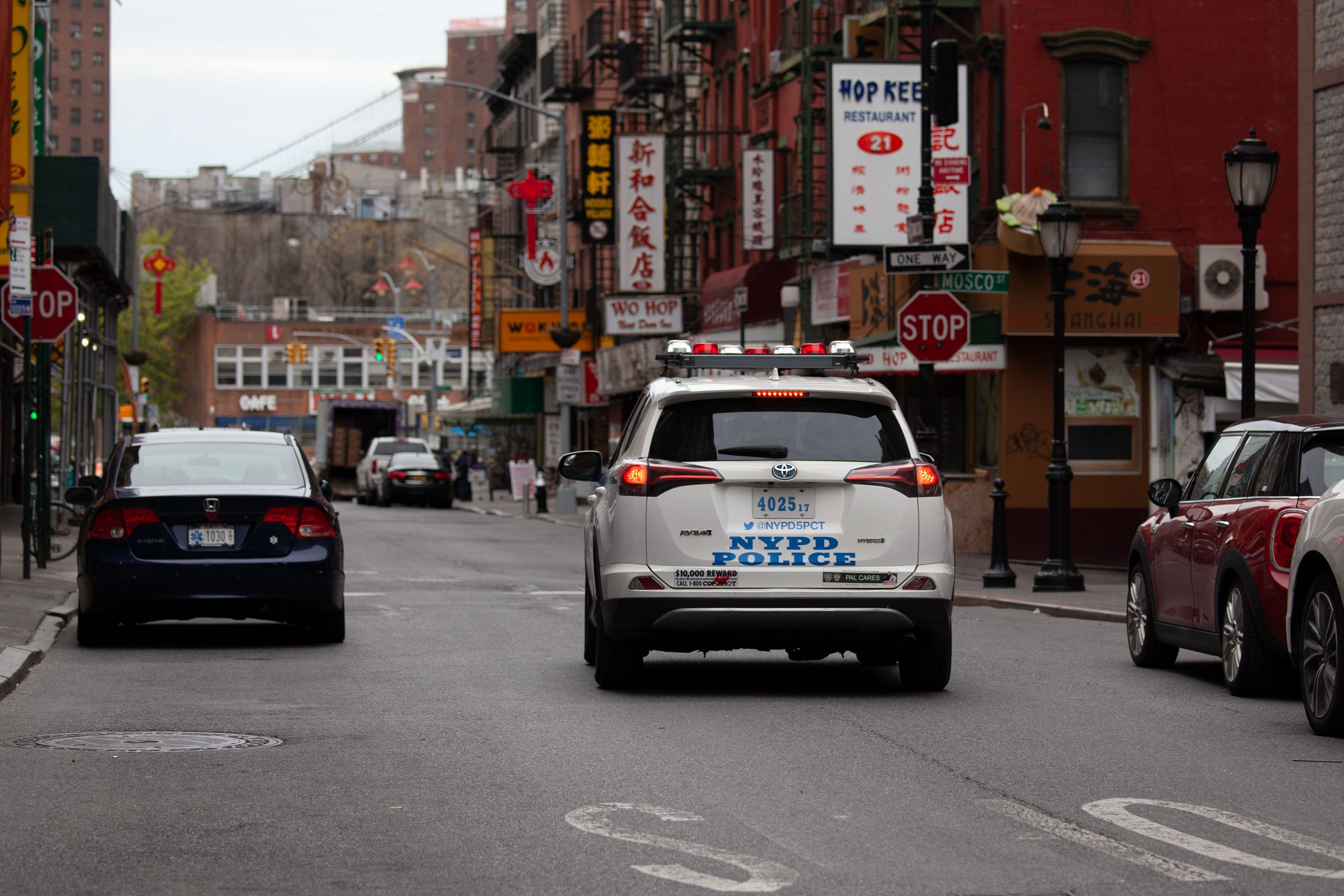 An NYPD vehicle in Lower Manhattan on April 20, 2020.