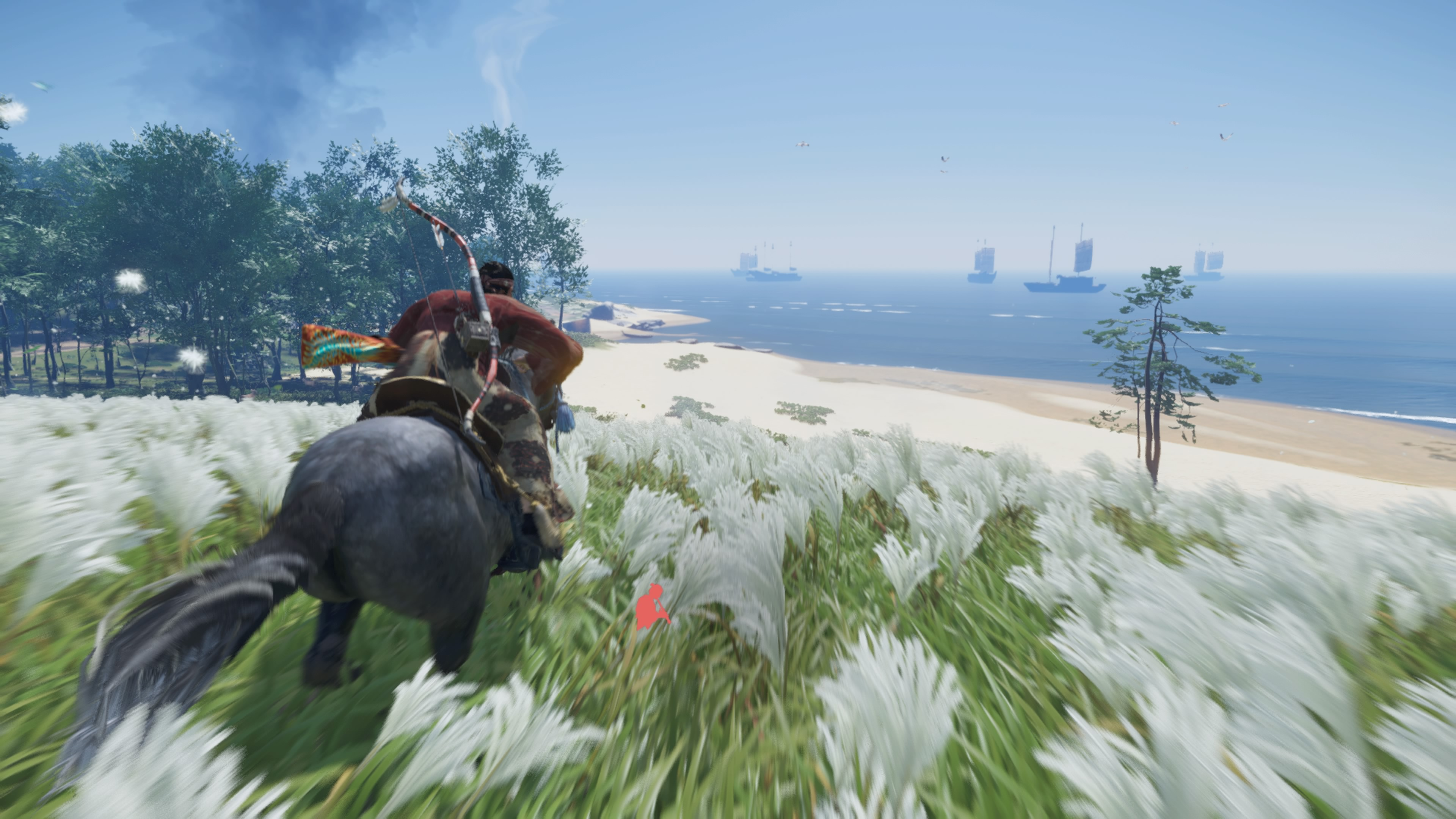 Jin Sakai of Ghost of Tsushima riding his horse in a white field