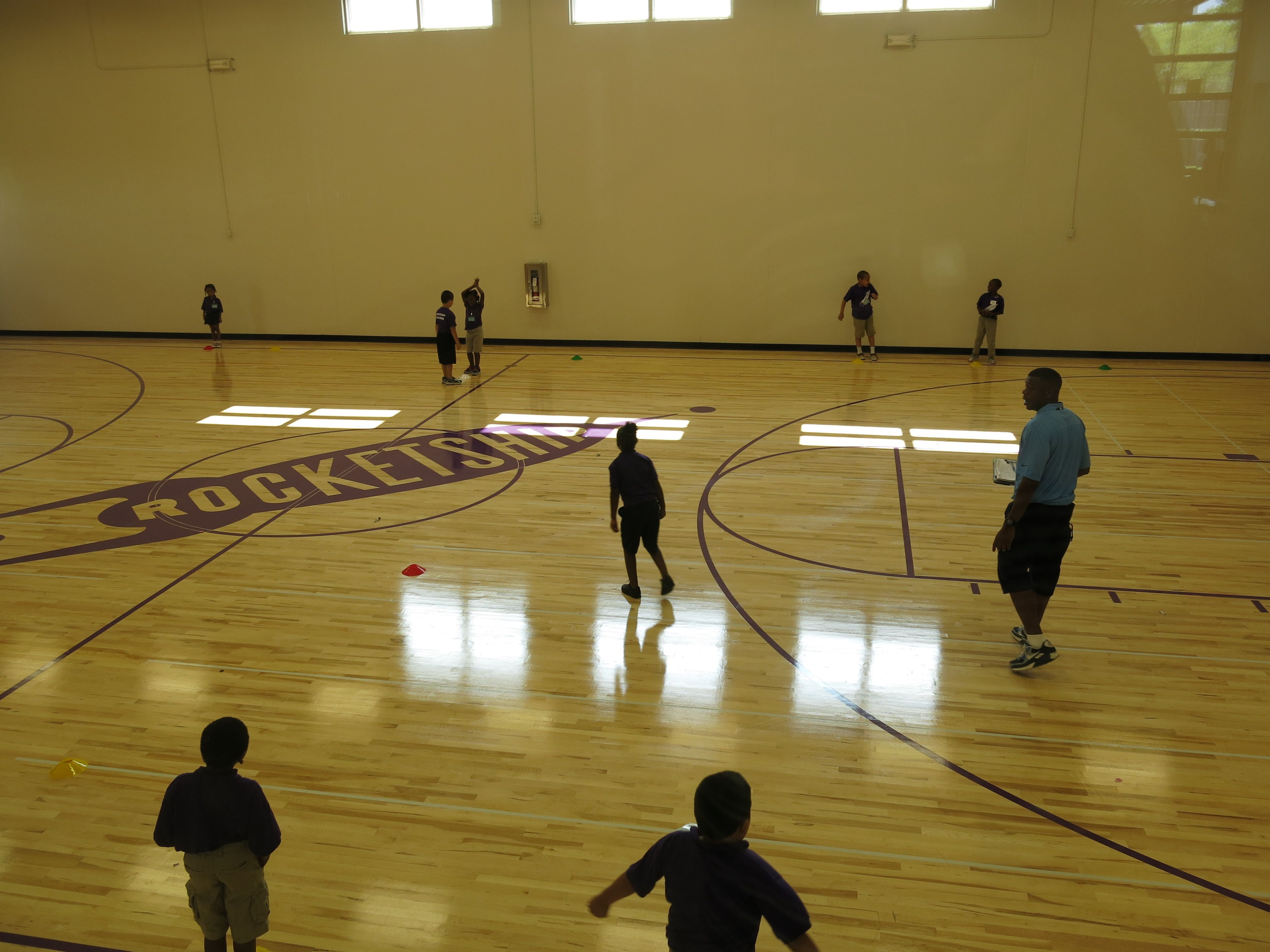 Students at Rocketship play in their brand new gym.