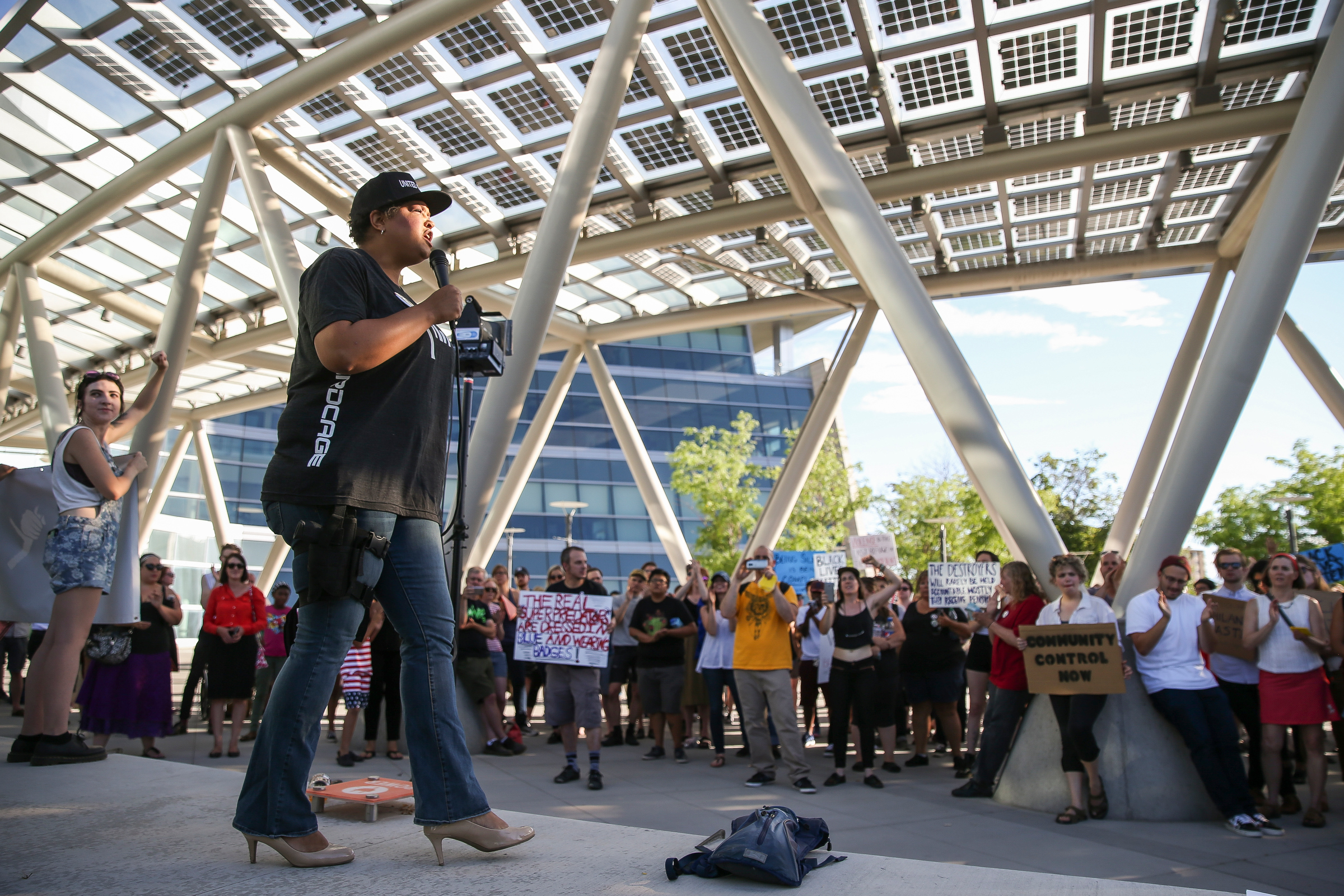 Lex Scott speaks at a Utah Against Police Brutality rally outside the Salt Lake City Public Safety Building on Saturday, July 9, 2016.