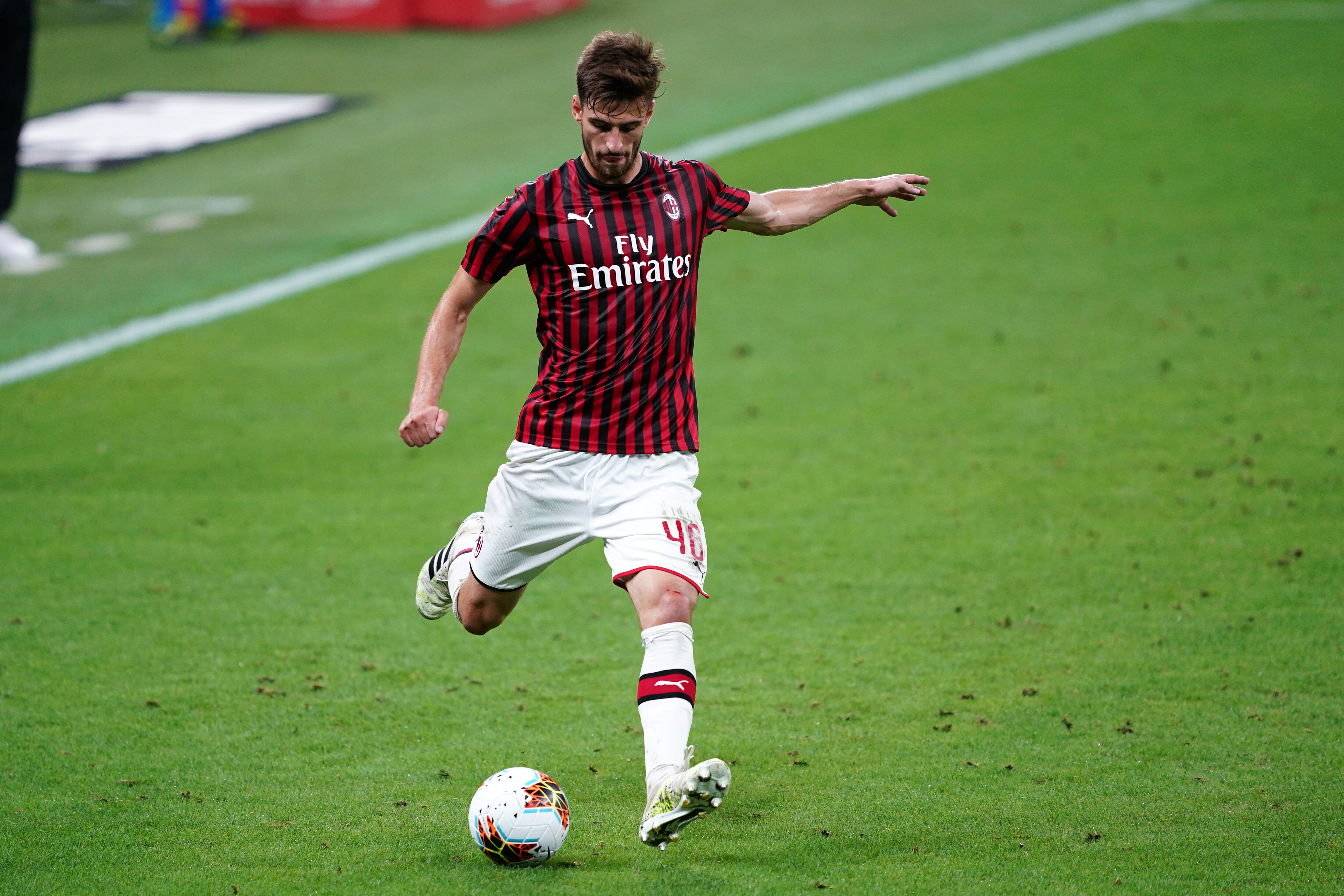 Matteo Gabbia of Ac Milan in action during the Serie A...