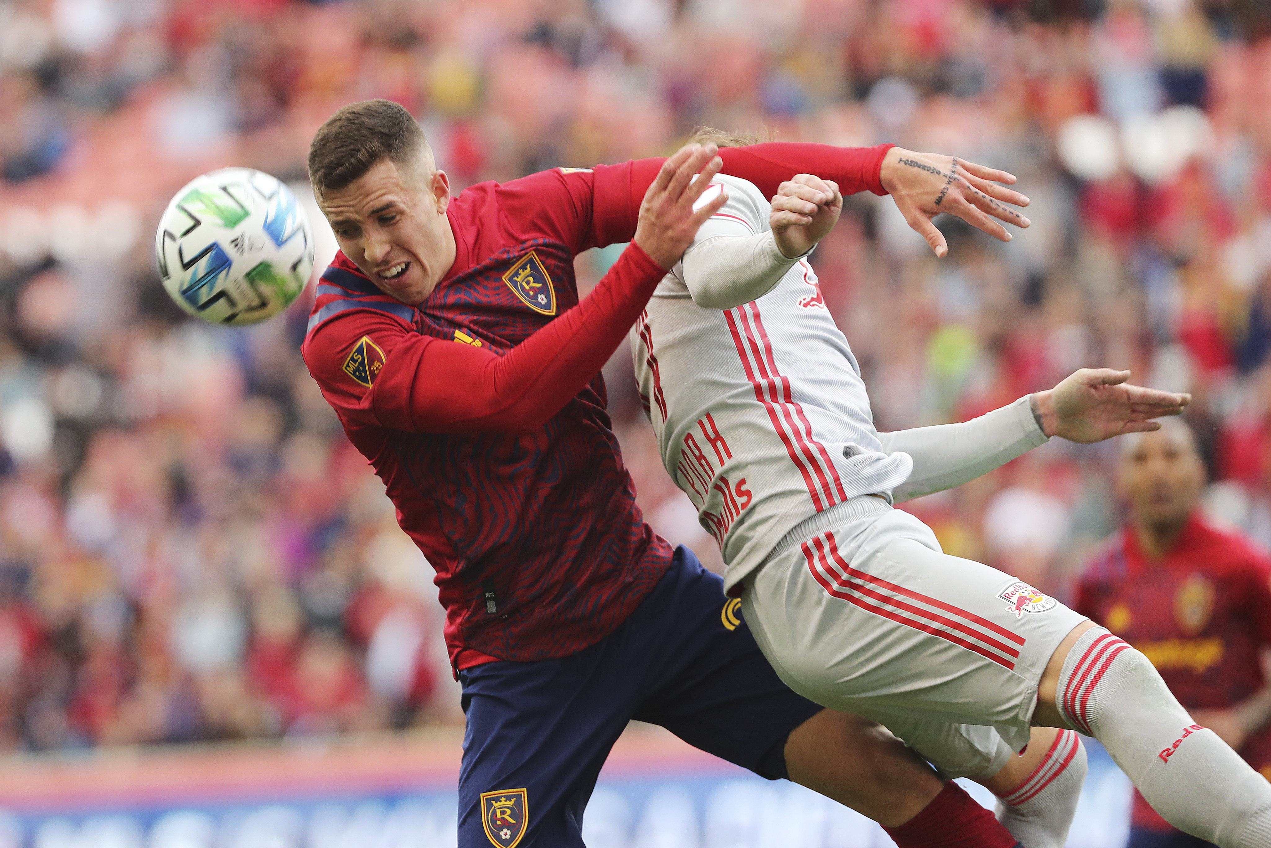 Real Salt Lake forward AaronHerrera (22) and New York City defender Patrick Seagrist compete in Sandy on Saturday, March 7, 2020. RSL tied with New York 1-1.