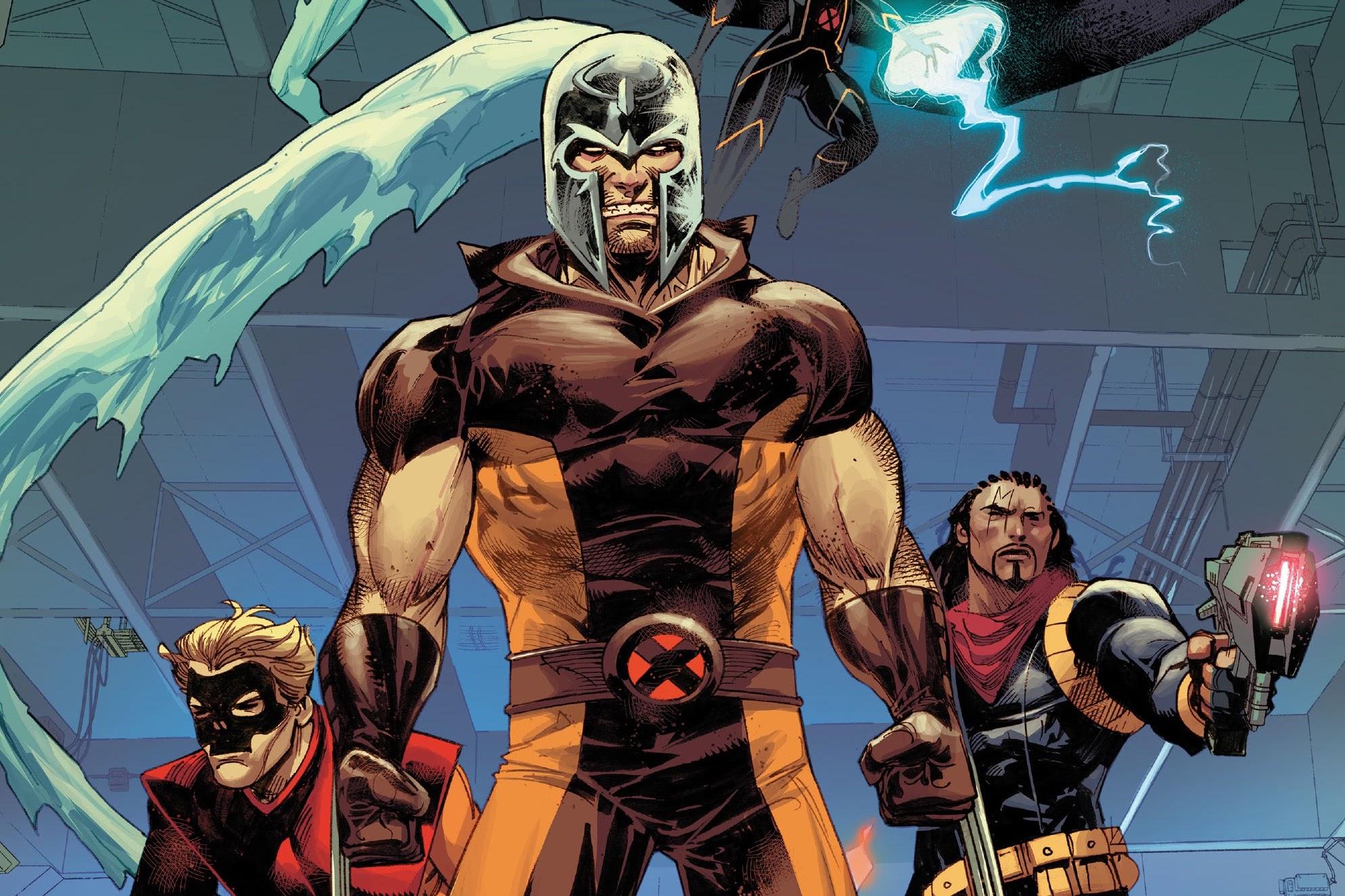 Wolverine wears Magneto's helmet, flanked by Iceman, Pyro, Storm, and Bishop in Wolverine #3, (2020).
