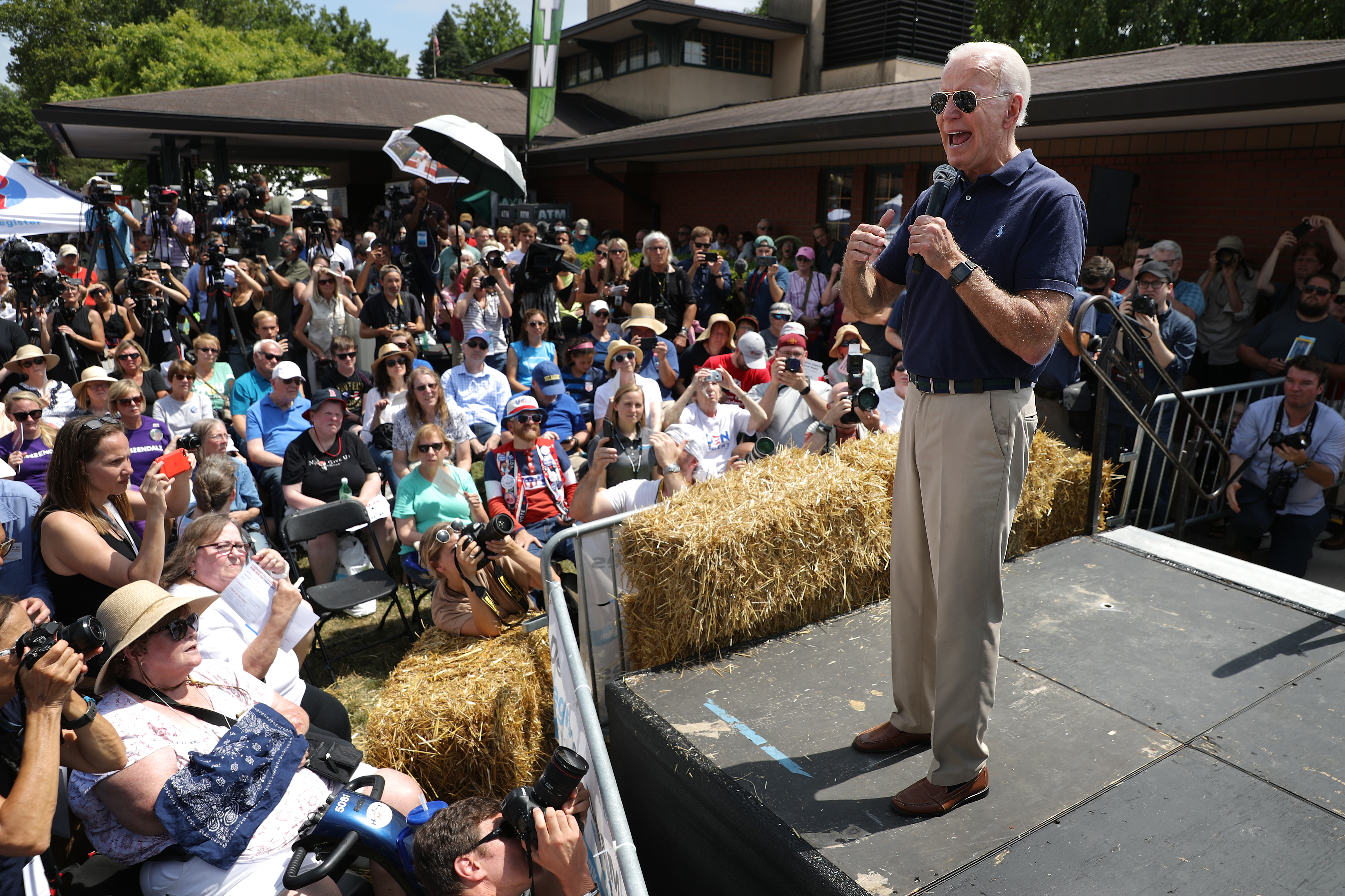 Democratic presidential candidate and former Vice President Joe Biden delivers a 20-minute campaign speech at the Des Moines Register Political Soapbox at the Iowa State Fair August 08, 2019 in Des Moines, Iowa. 22 of the 23 politicians seeking the Democratic Party presidential nomination will be visiting the fair this week, six months ahead of the all-important Iowa caucuses.