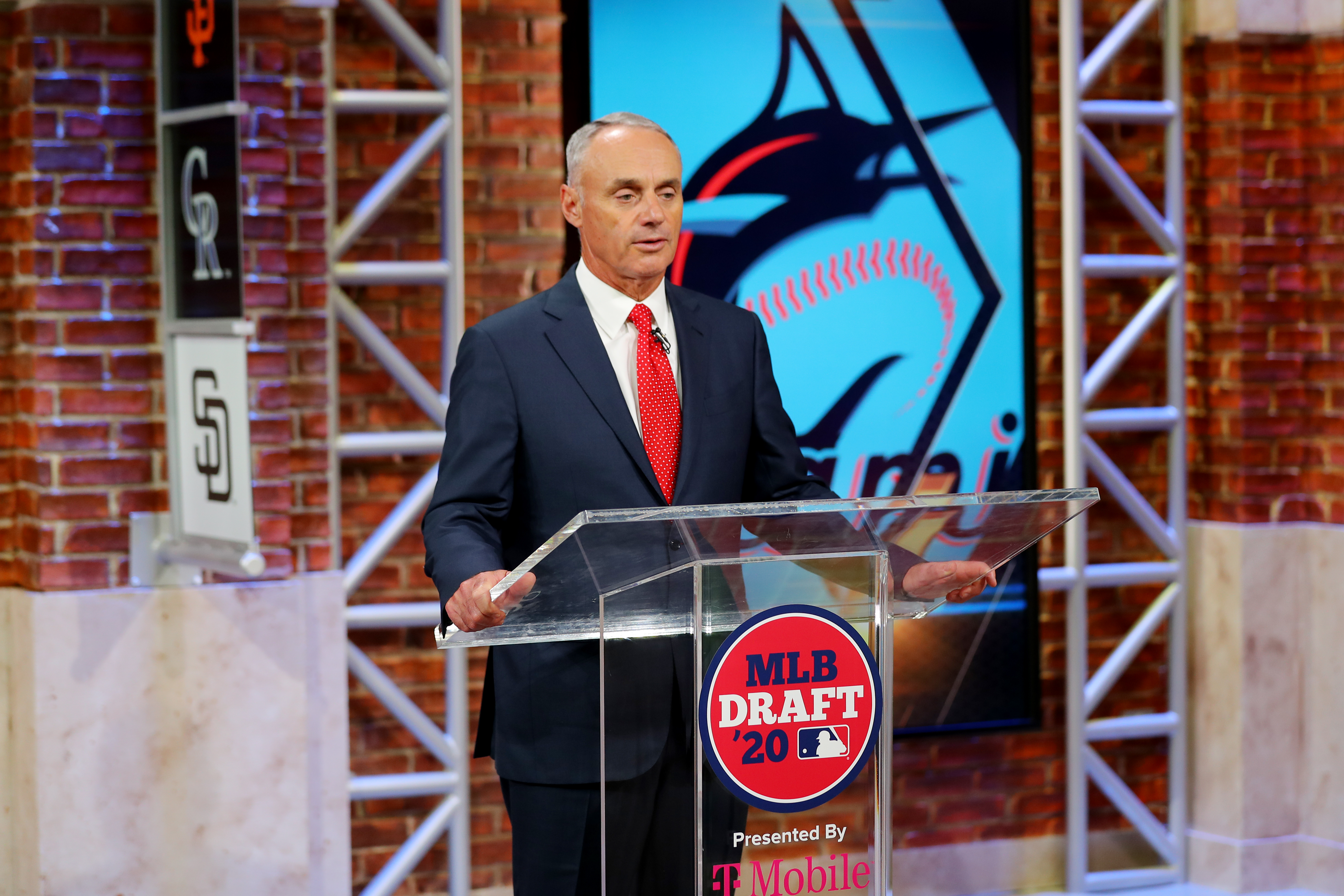 Major League Baseball Commissioner Robert D. Manfred Jr. announces the third pick in the 2020 MLB Draft is Max Meyer by the Miami Marlins during the 2020 Major League Baseball Draft