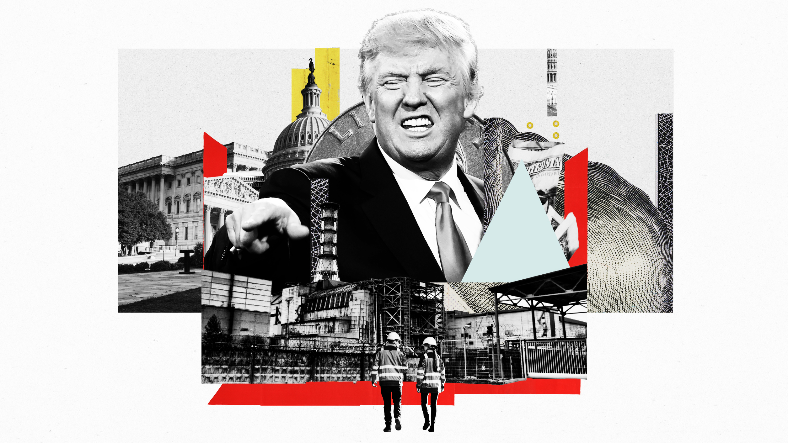 An illustration of Donald Trump, industrial workers,  and government buildings.