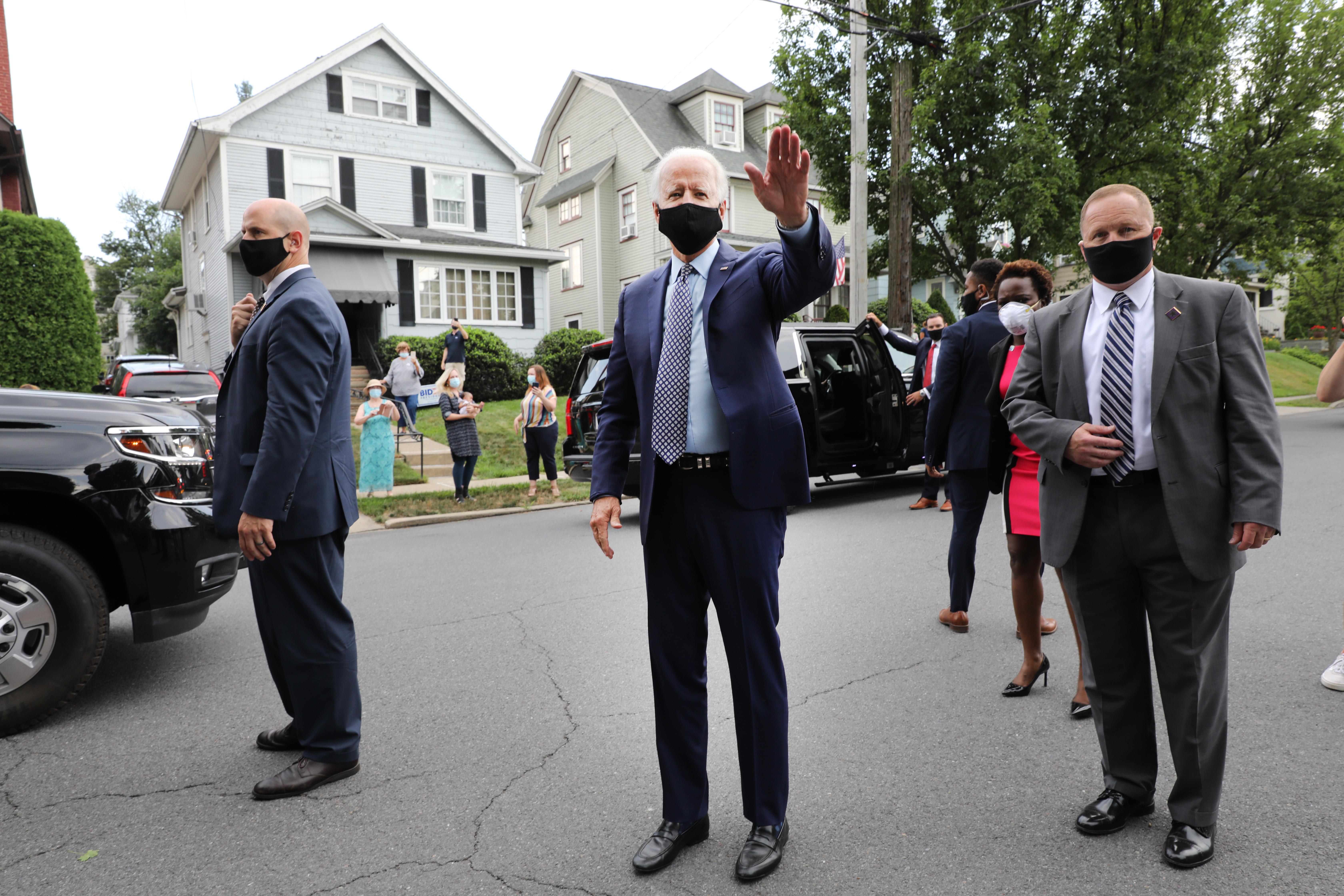 The presumptive Democratic presidential nominee Joe Biden stops in front of his childhood home on July 09, 2020 in Scranton, Pennsylvania.