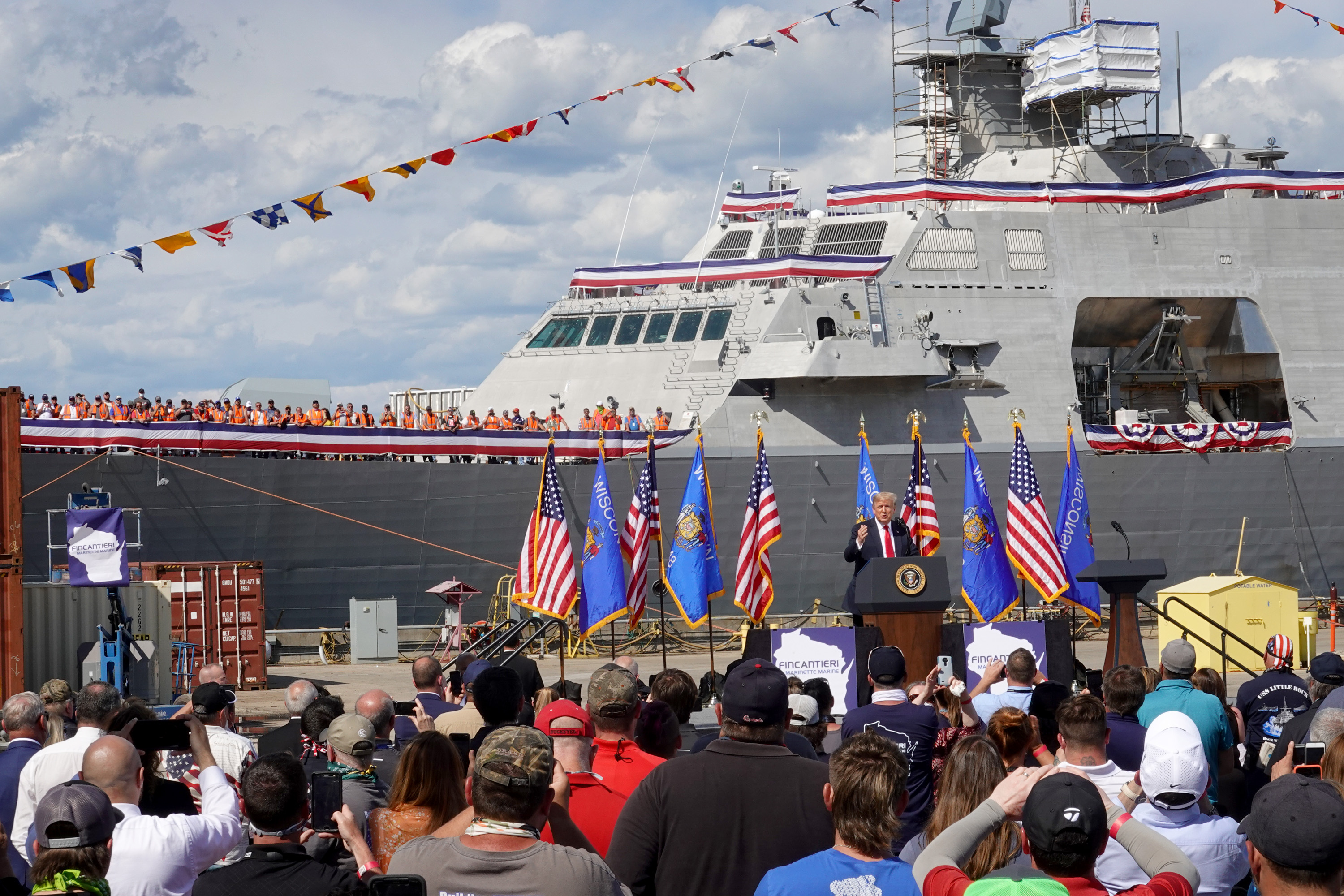 US President Donald Trump speaks to workers during a visit to the Fincantieri Marinette Marine shipyard on June 25, 2020 in Marinette, Wisconsin.