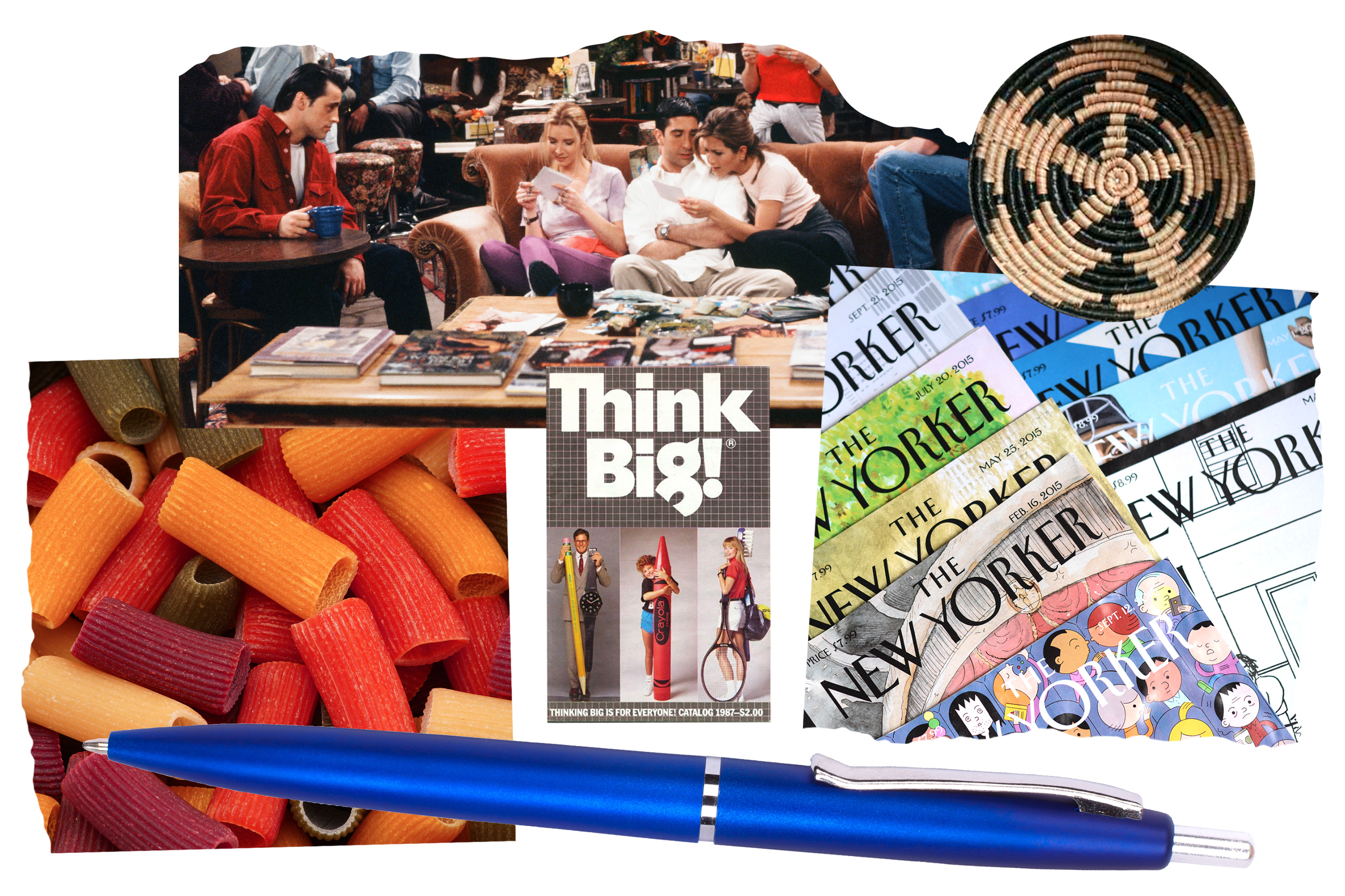A collage of images that shows the references found in Gigi Hadid's NYC apartment. There is colored pasta, New Yorker magazines, a pen, Friends, and a woven basket.