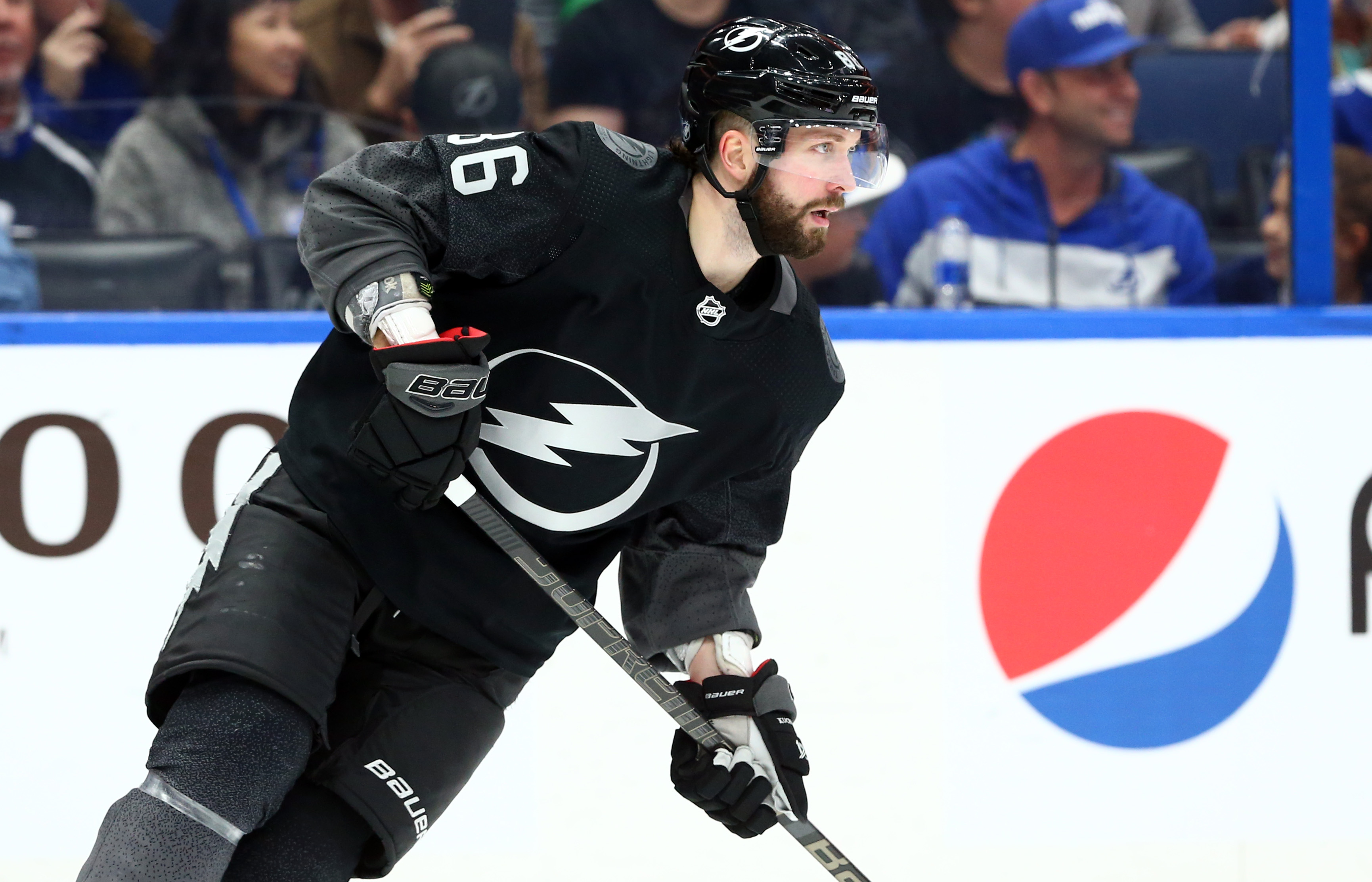Tampa Bay Lightning right wing Nikita Kucherov skates with the puck against the Calgary Flames during the second period at Amalie Arena.