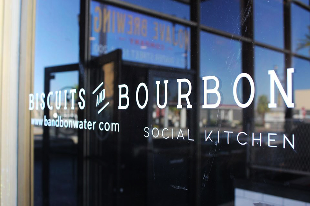 """The exterior the Biscuits and Bourbon """"social kitchen,"""" on its way to Water Street in Henderson."""