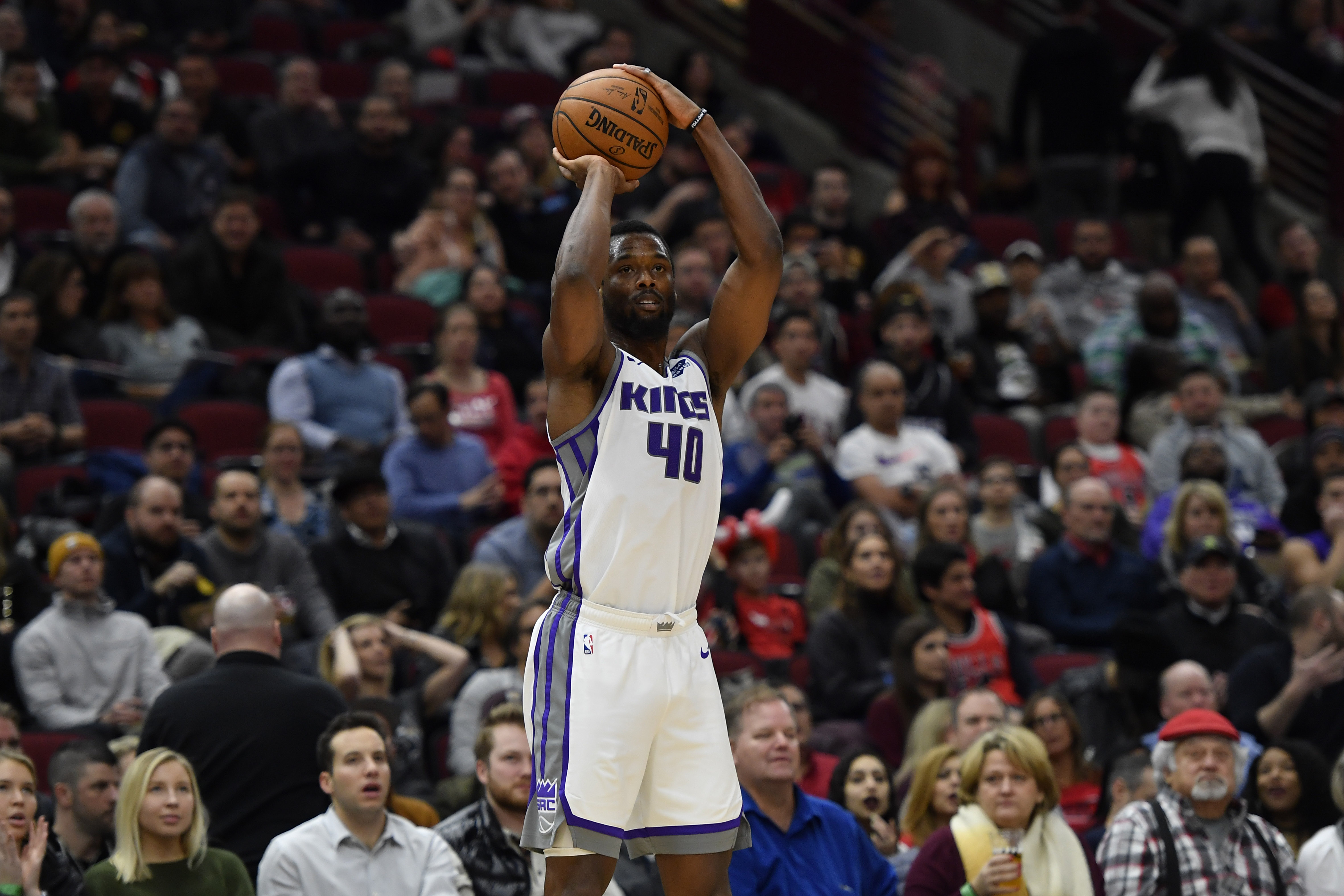 Sacramento Kings forward Harrison Barnes shoots in the second half against the Chicago Bulls at United Center.