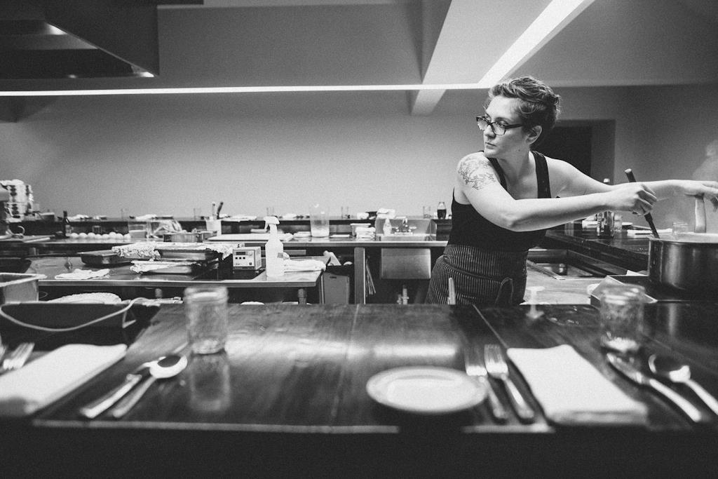 A woman in a kitchen