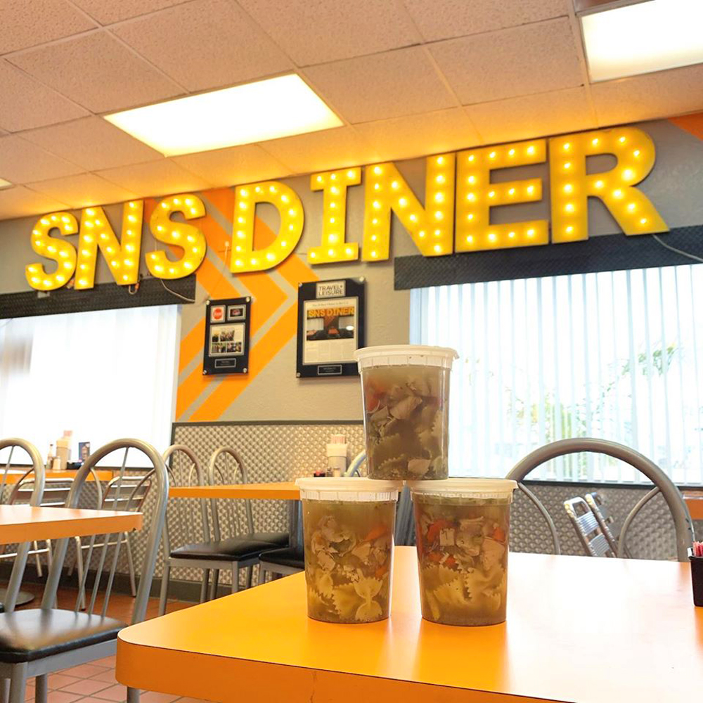 The interior of the low-key SNS Diner, part of a truck wash in North Las Vegas.