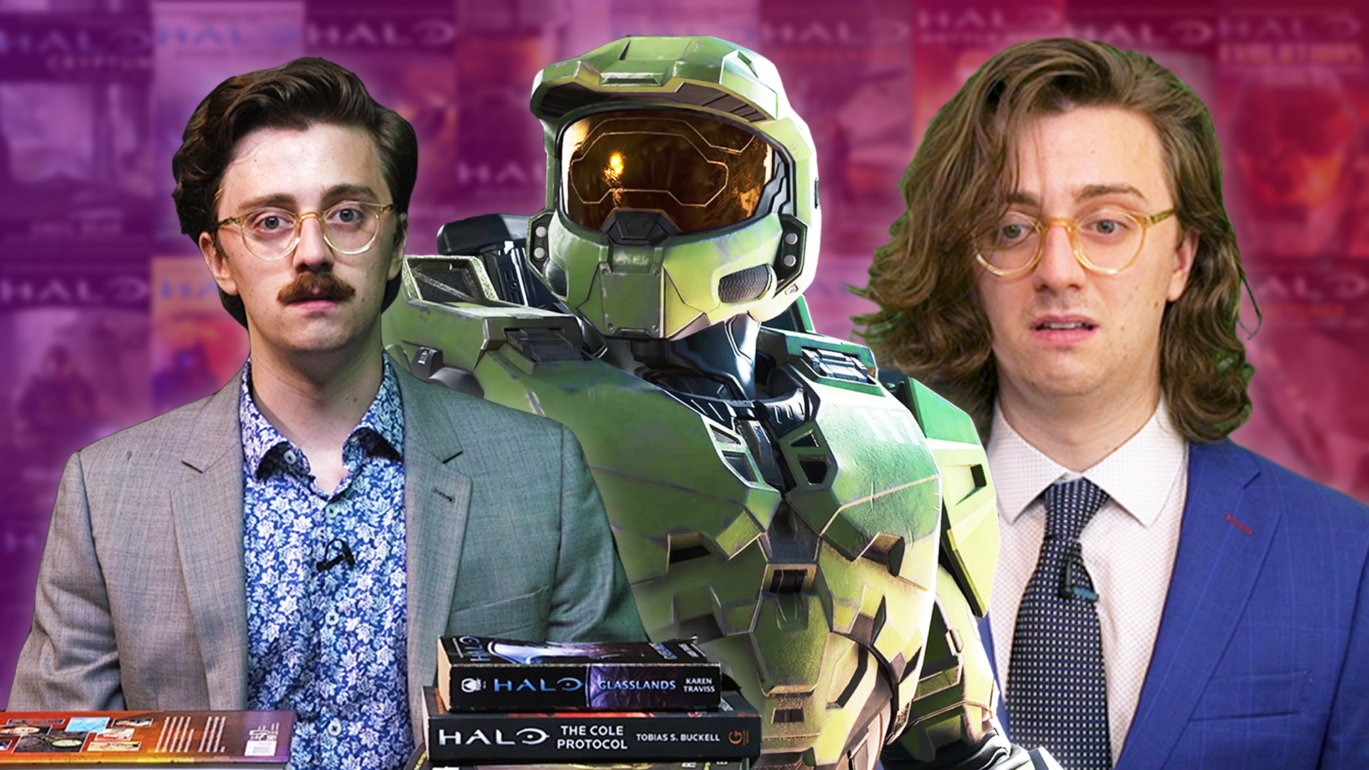 An image of Brian David Gilbert from July 2019 seated behind a bunch of Halo novels. Behind him is the Master Chief, and behind the Master Chief is another image of Brian looking sad from July 2020.
