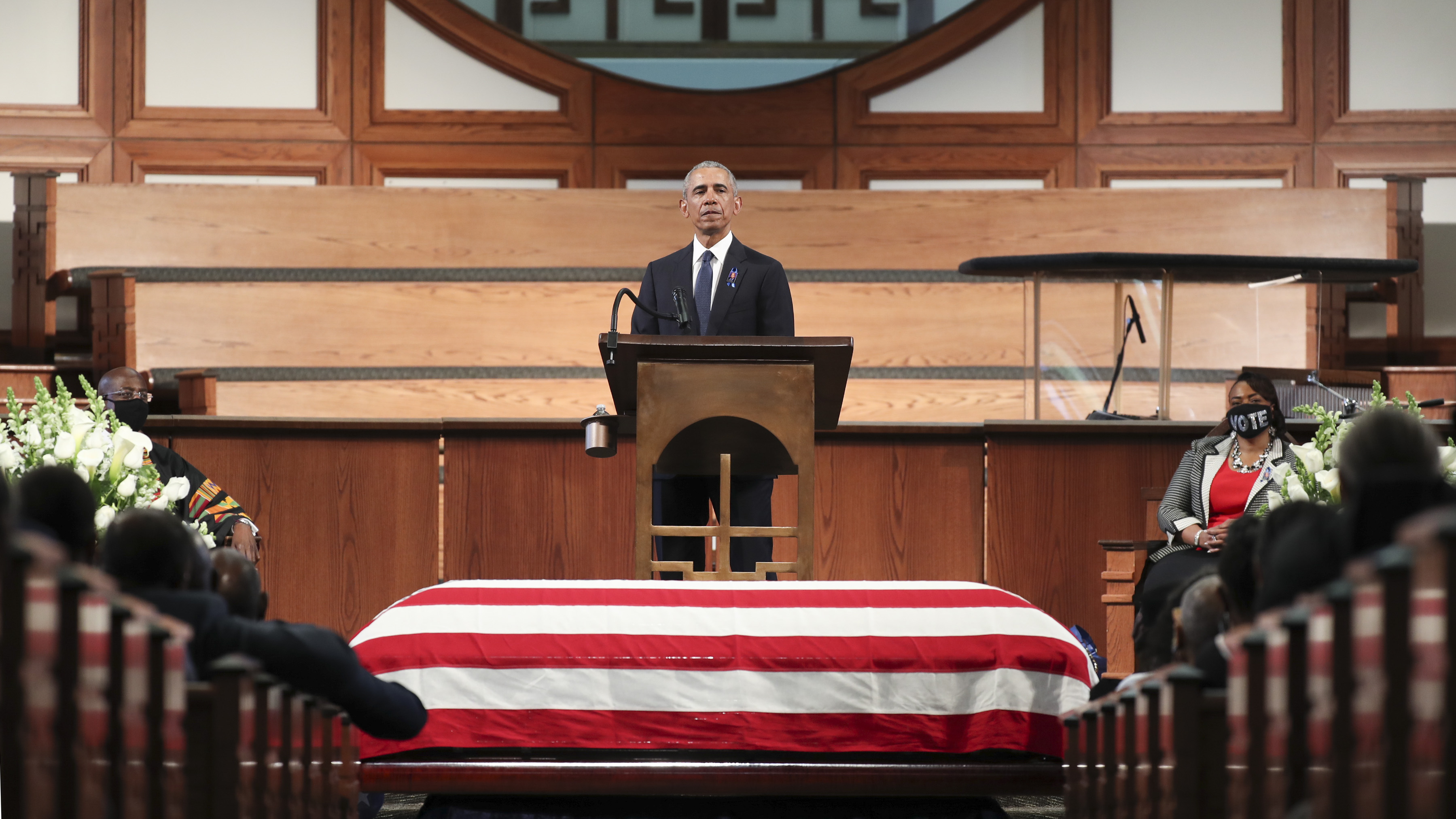 Former President Barack Obama at the pulpit of John Lewis's funeral.