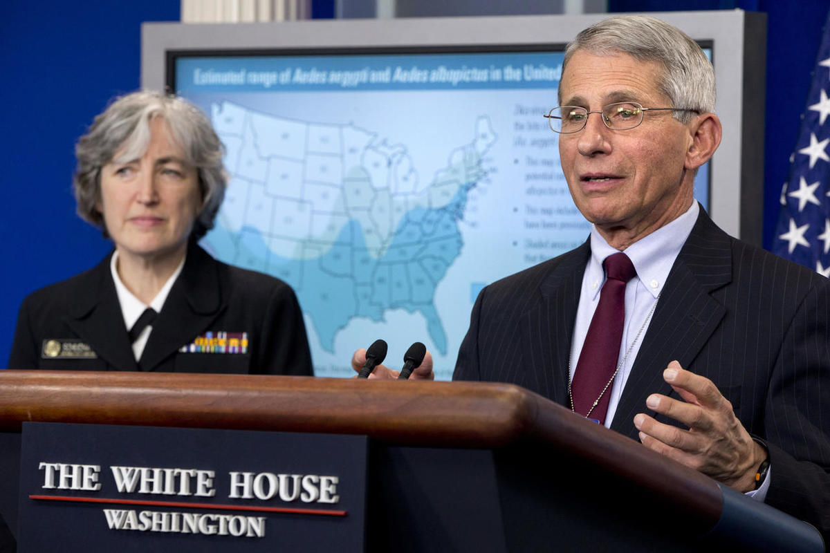 Dr. Anthony Fauci, director of NIH/NIAID, right, with Dr. Anne Schuchat, principal deputy director of the Center for Disease Control, speaks about the Zika virus, Monday, April 11, 2016, during a news briefing with White House in Washington.