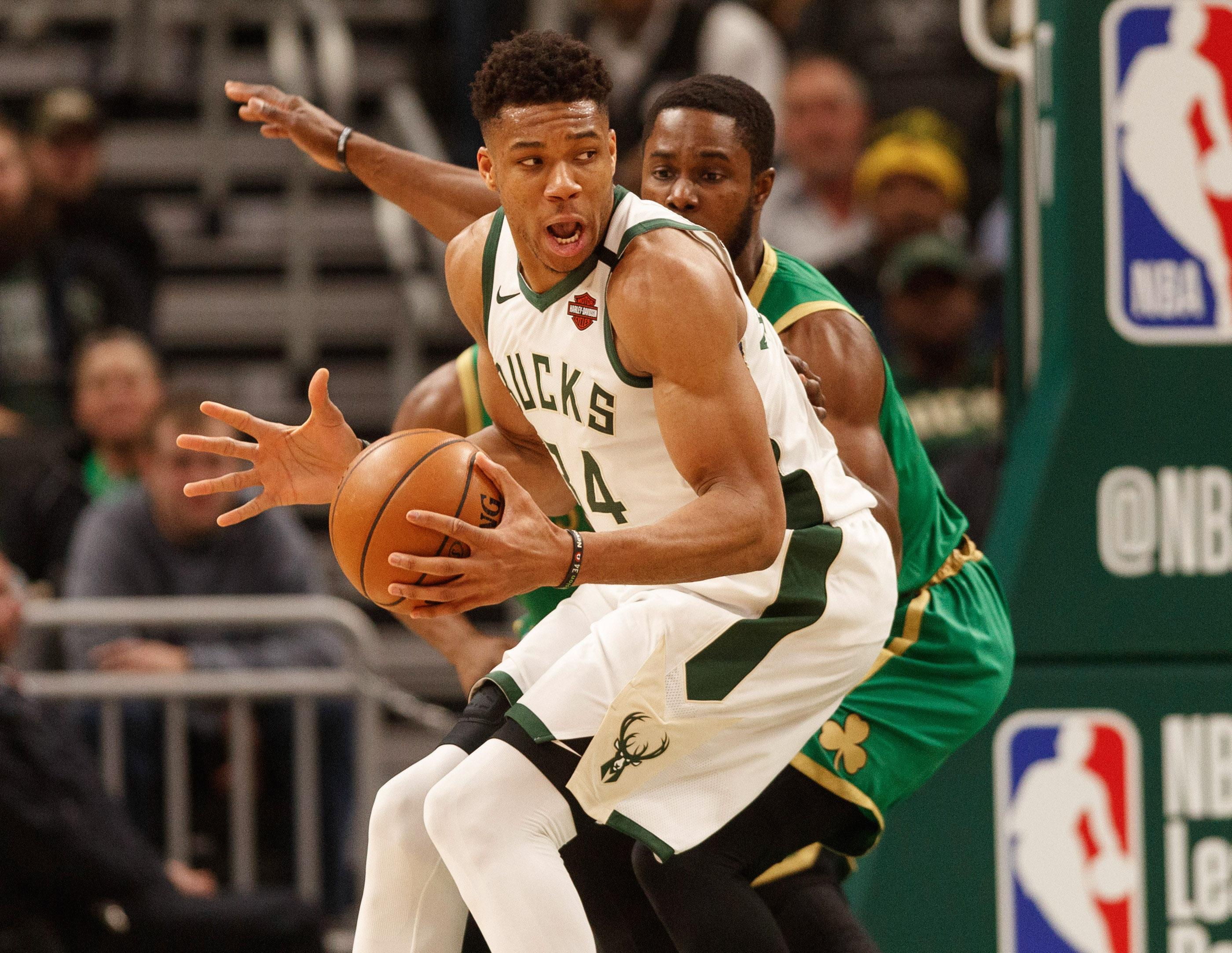 Milwaukee Bucks forward Giannis Antetokounmpo during the game against the Boston Celtics at Fiserv Forum.