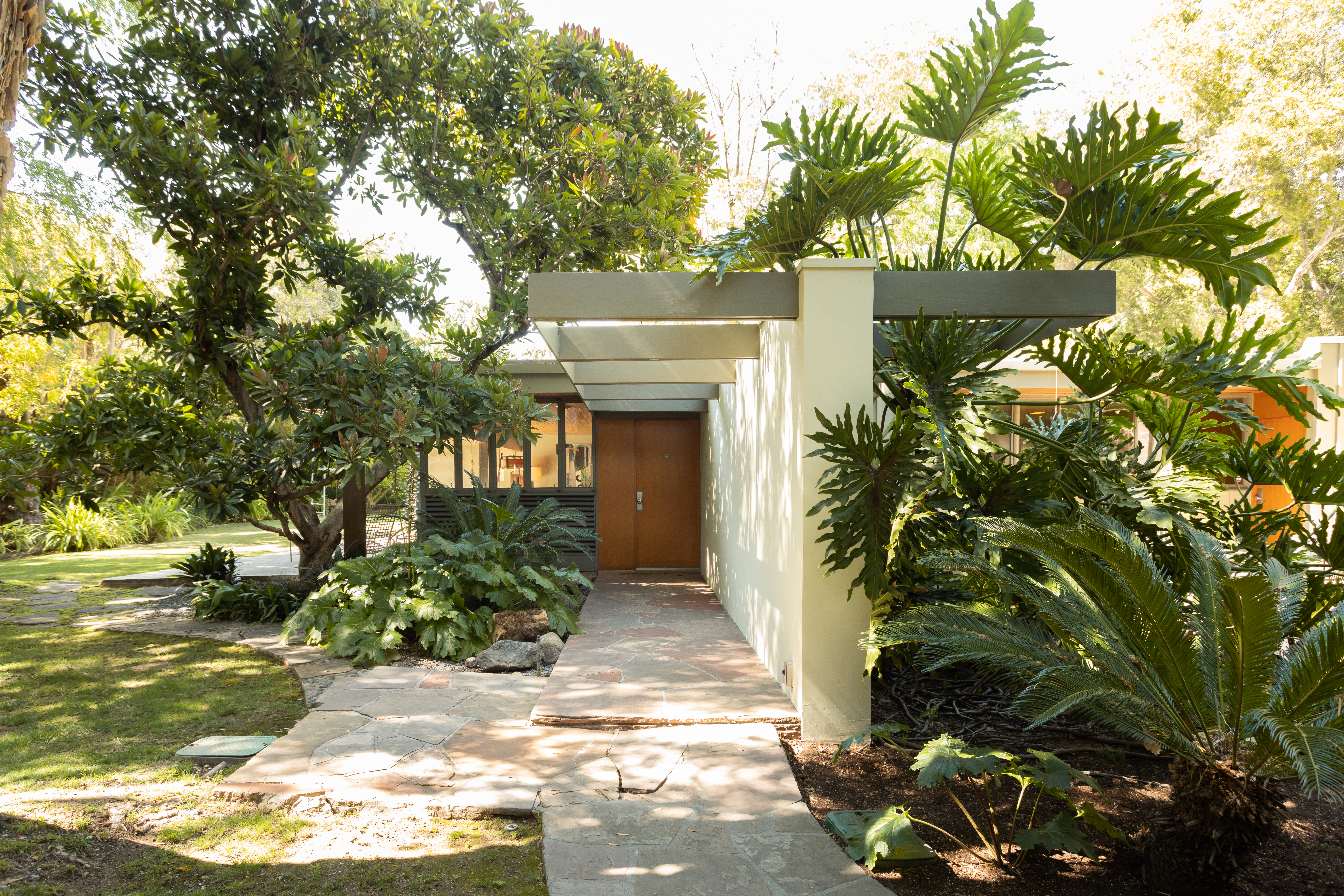 View into a corridor of a modern house, surrounded by trees.
