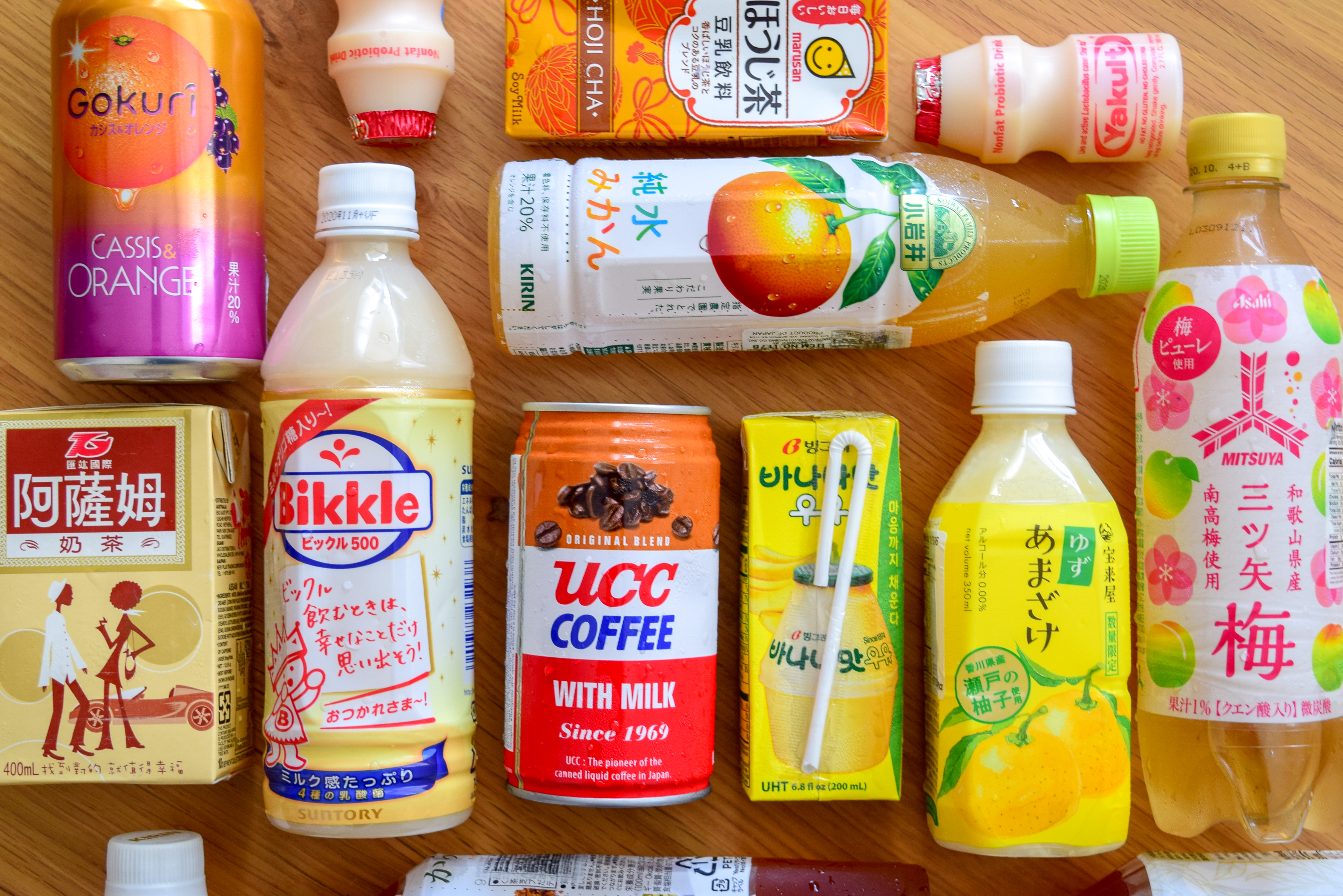 Overhead view of various juice boxes and sodas.