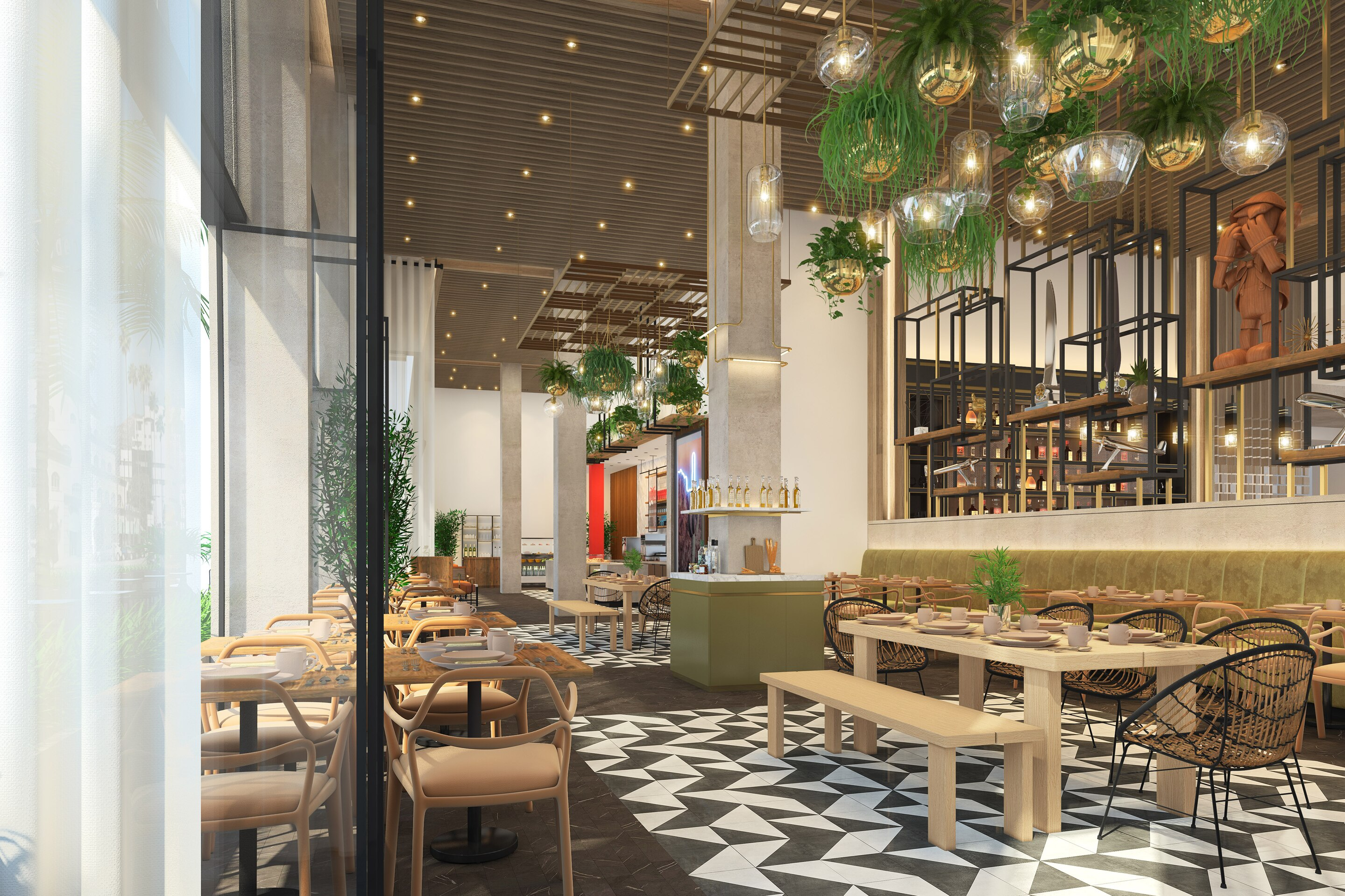 A rendering of a lobby hotel restaurant and bar area.