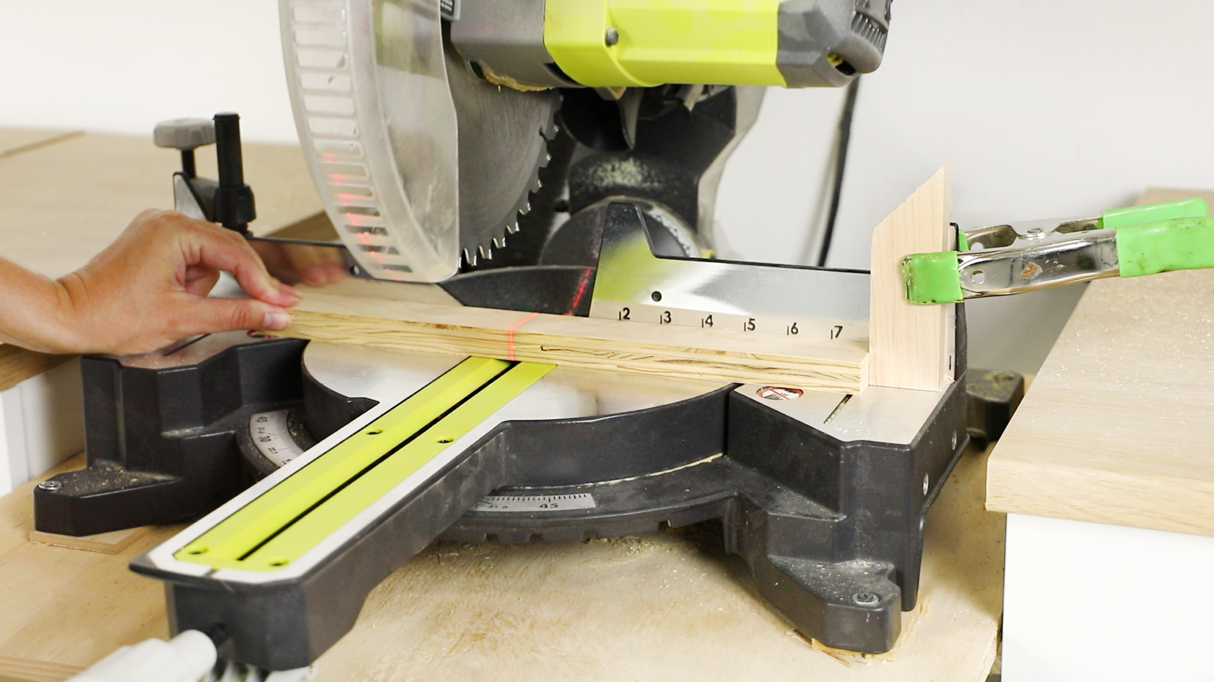 Cutting with a miter saw
