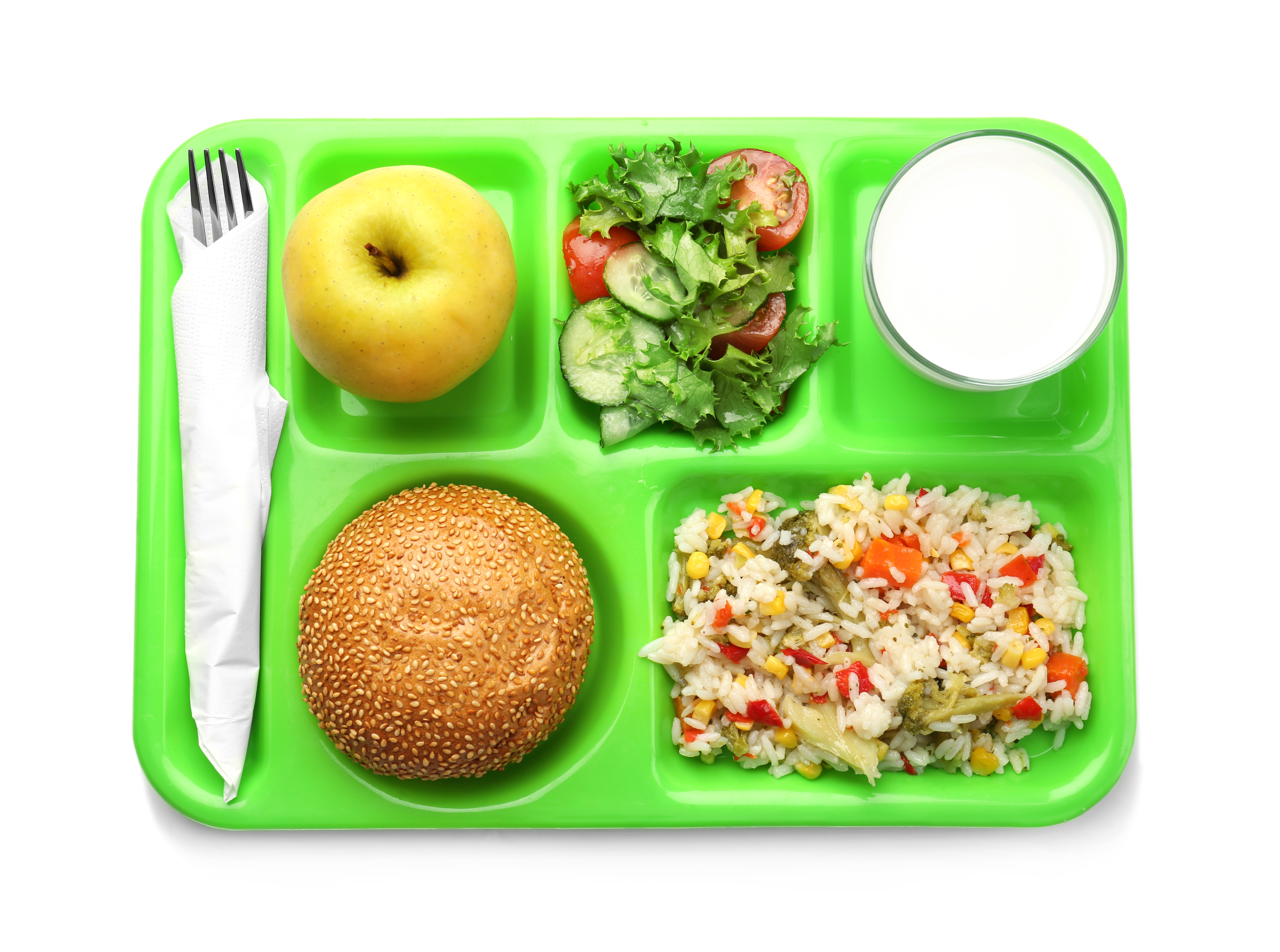 Overhead photo of green cafeteria tray with various dishes in each compartment, including an apple, a salad, and a burger.