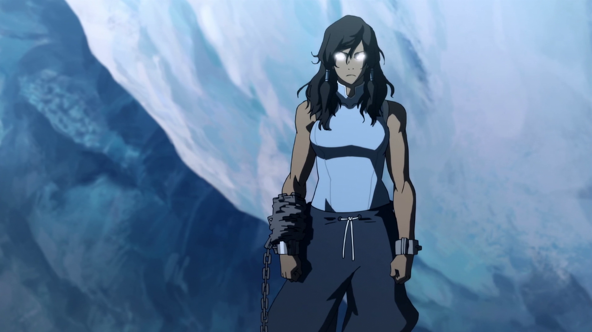 korra in the avatar state in season 2 of legend of korra
