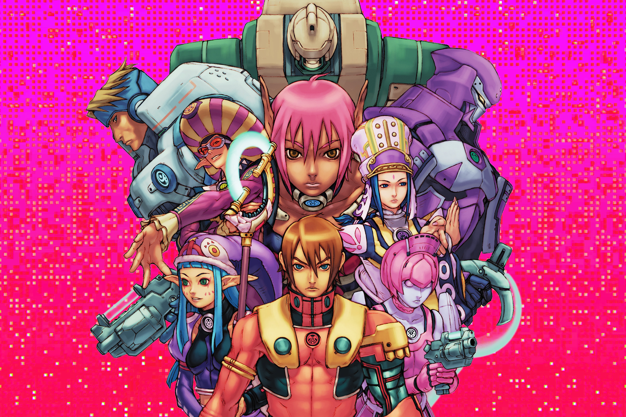 Graphic artwork featuring a montage of characters from the video game Phantasy Star Online over a bright magenta and red pixelated background