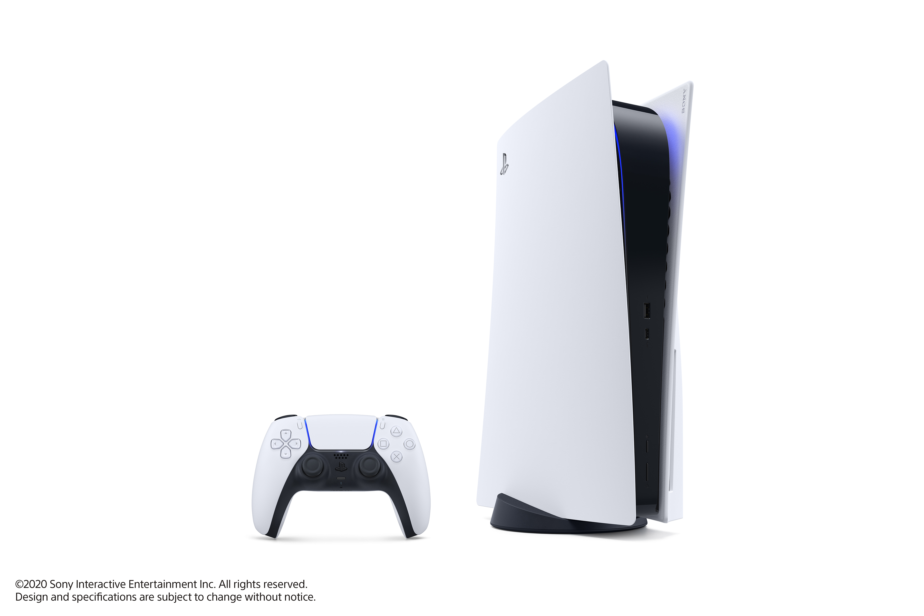 the DualSense controller standing to the left of the PlayStation 5 standing vertically