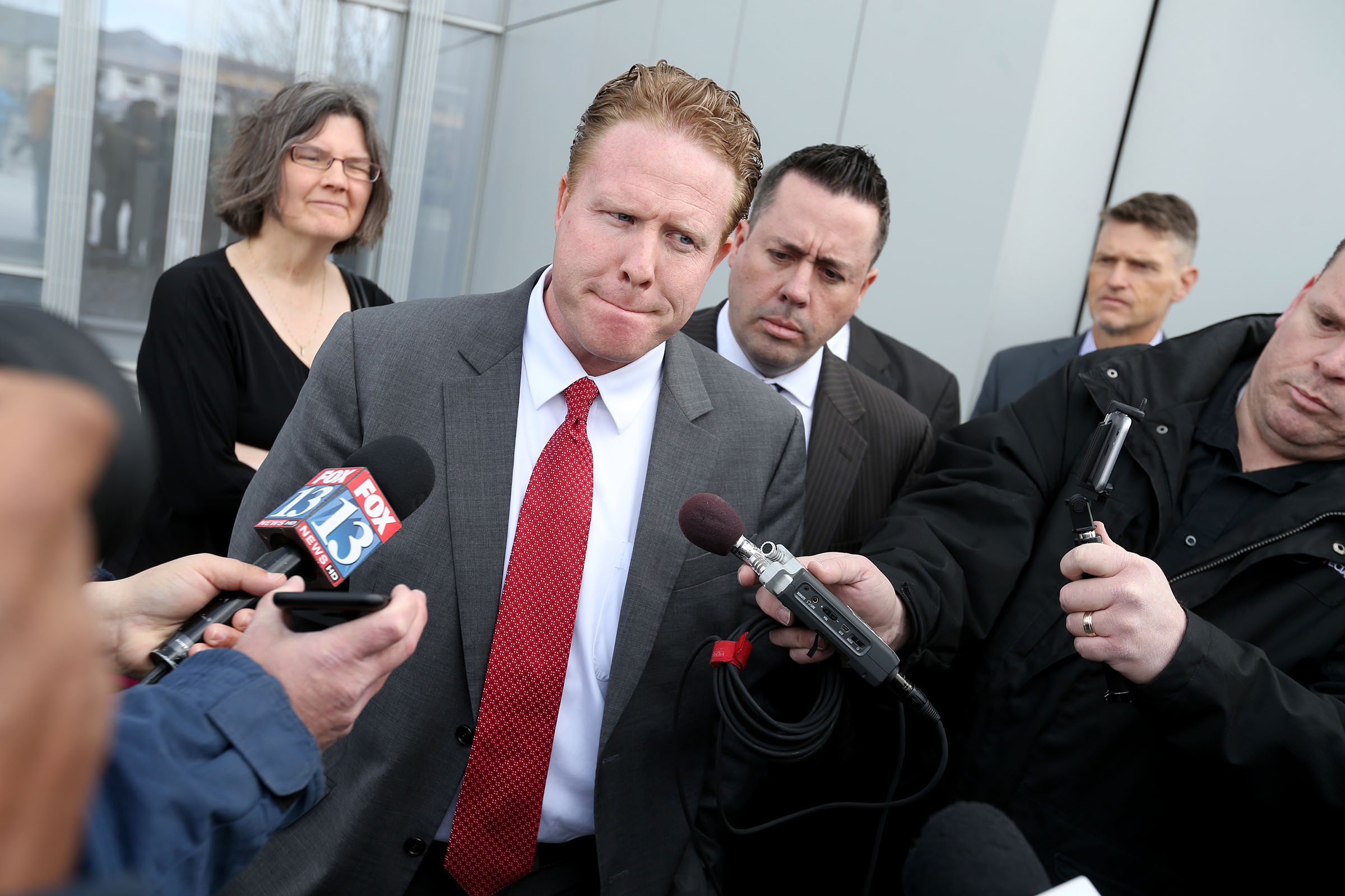 Former St. George multimillionaire Jeremy Johnson speaks to reporters after being found guilty on eight of 86 charges at the federal courthouse in Salt Lake City on Friday, March 25, 2016.