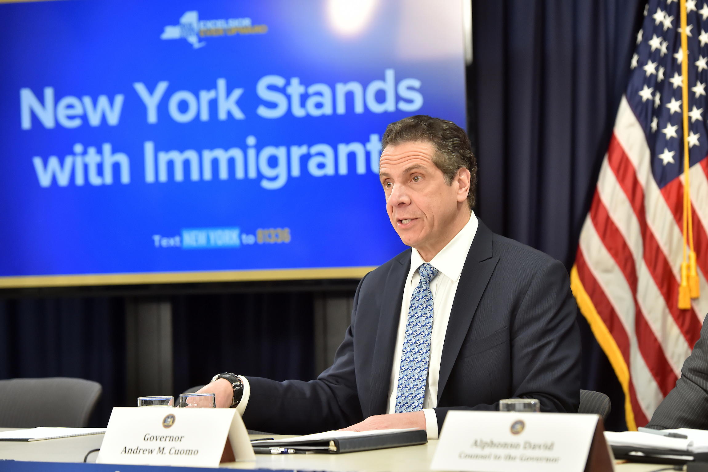 Governor Andrew Cuomo touts his support for immigrant communities, April 25, 2018.