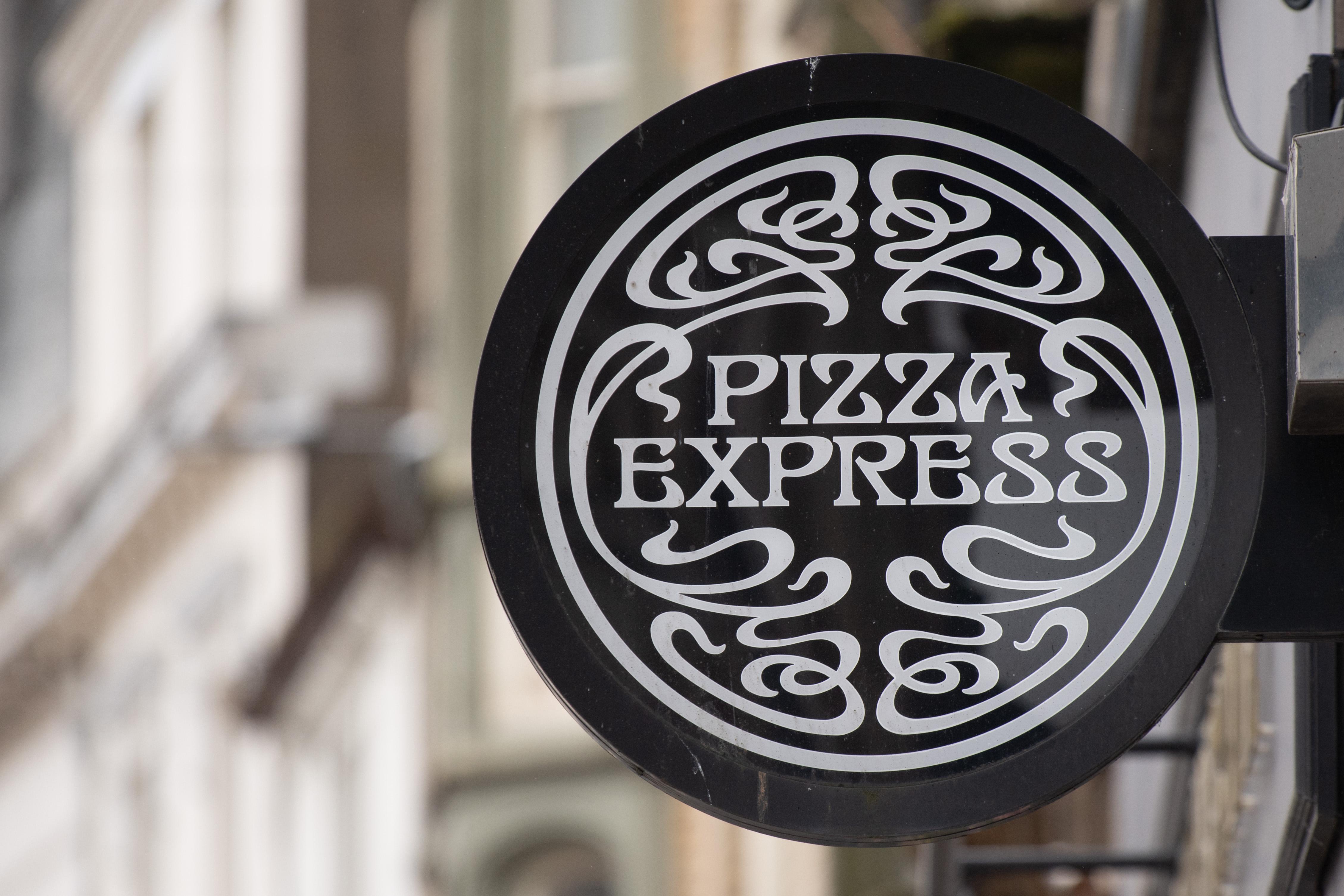 Pizza Express logo above a Pizza Express restaurant
